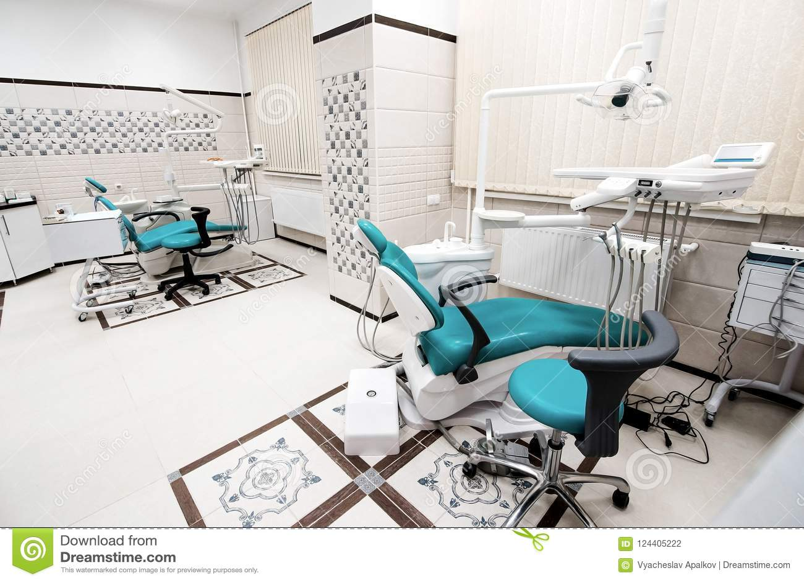 Άποψη σχεδίου γραφείων οδοντιατρικής με τα εργαλεία