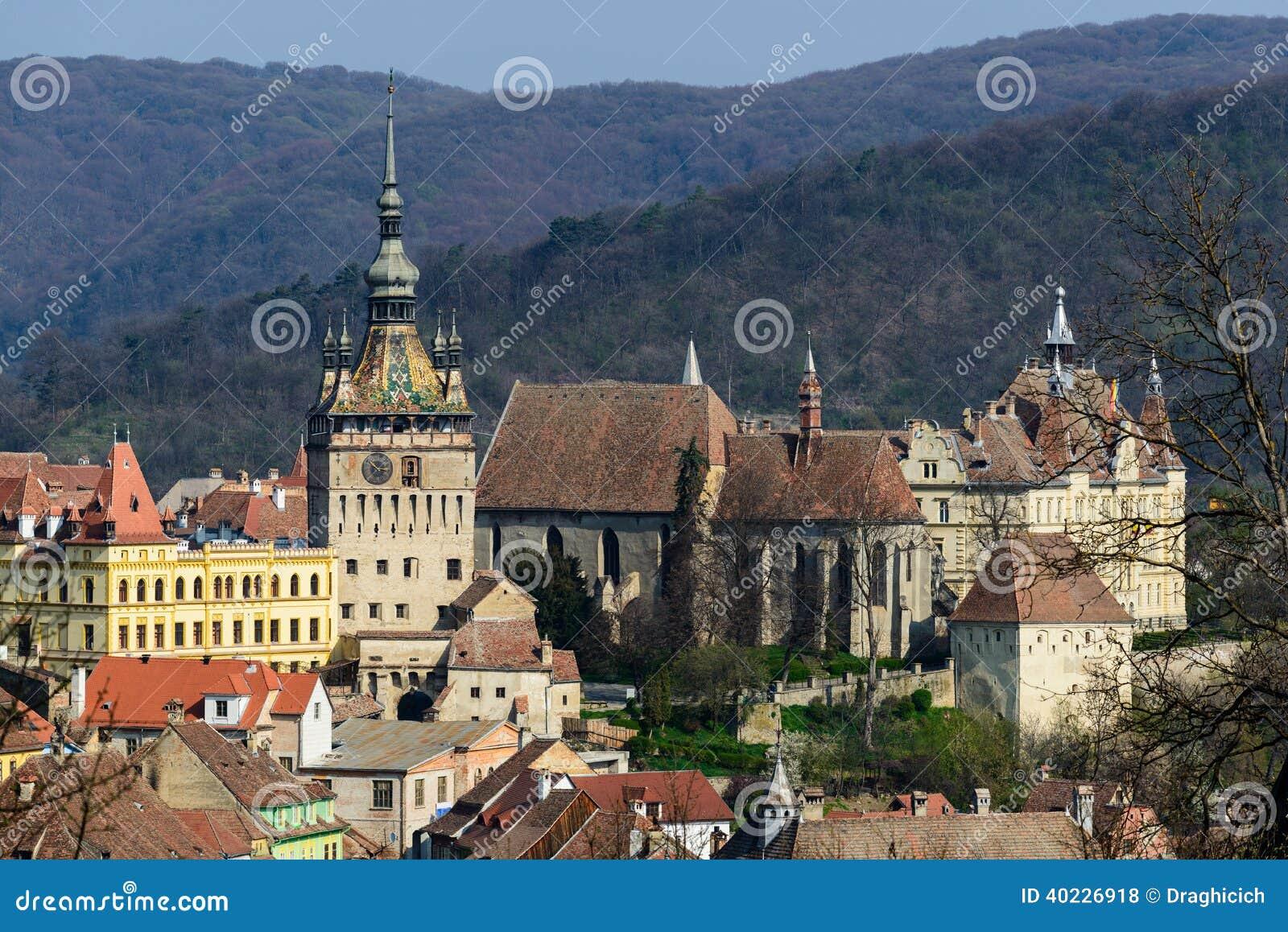 Άποψη σχετικά με την παλαιά πόλη σε Sighisoara