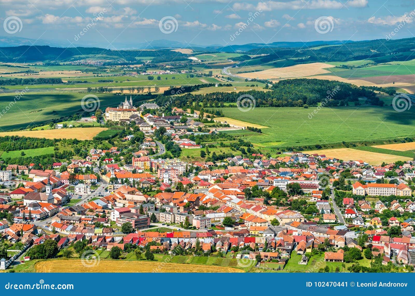 Άποψη σχετικά με την πόλη Spisske Podhradie από Spis Castle, περιοχή Presov, της Σλοβακίας