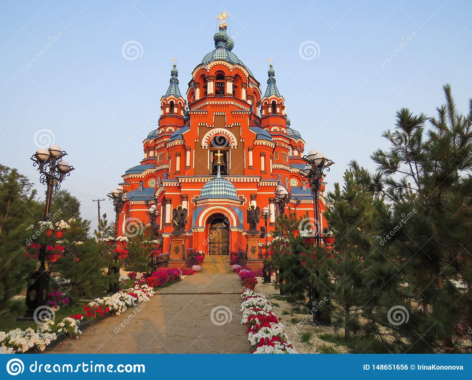Άποψη του καθεδρικού ναού του Kazan εικονιδίου της μητέρας του Θεού στην πόλη του Ιρκούτσκ