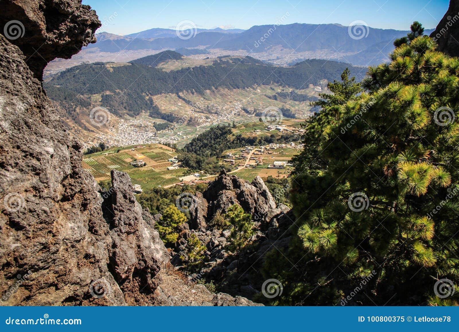 Άποψη των βουνών και των χωριών γύρω από Quetzaltenango από το Λα Muela, Quetzaltenango, Altiplano, Γουατεμάλα