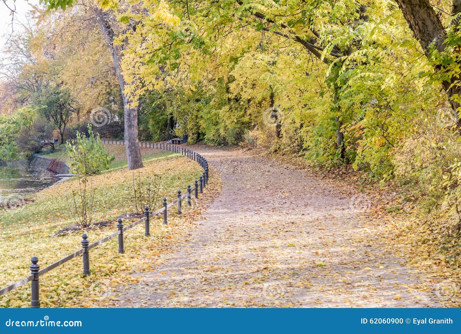 Άποψη φθινοπώρου του ίχνους στην όχθη ποταμού