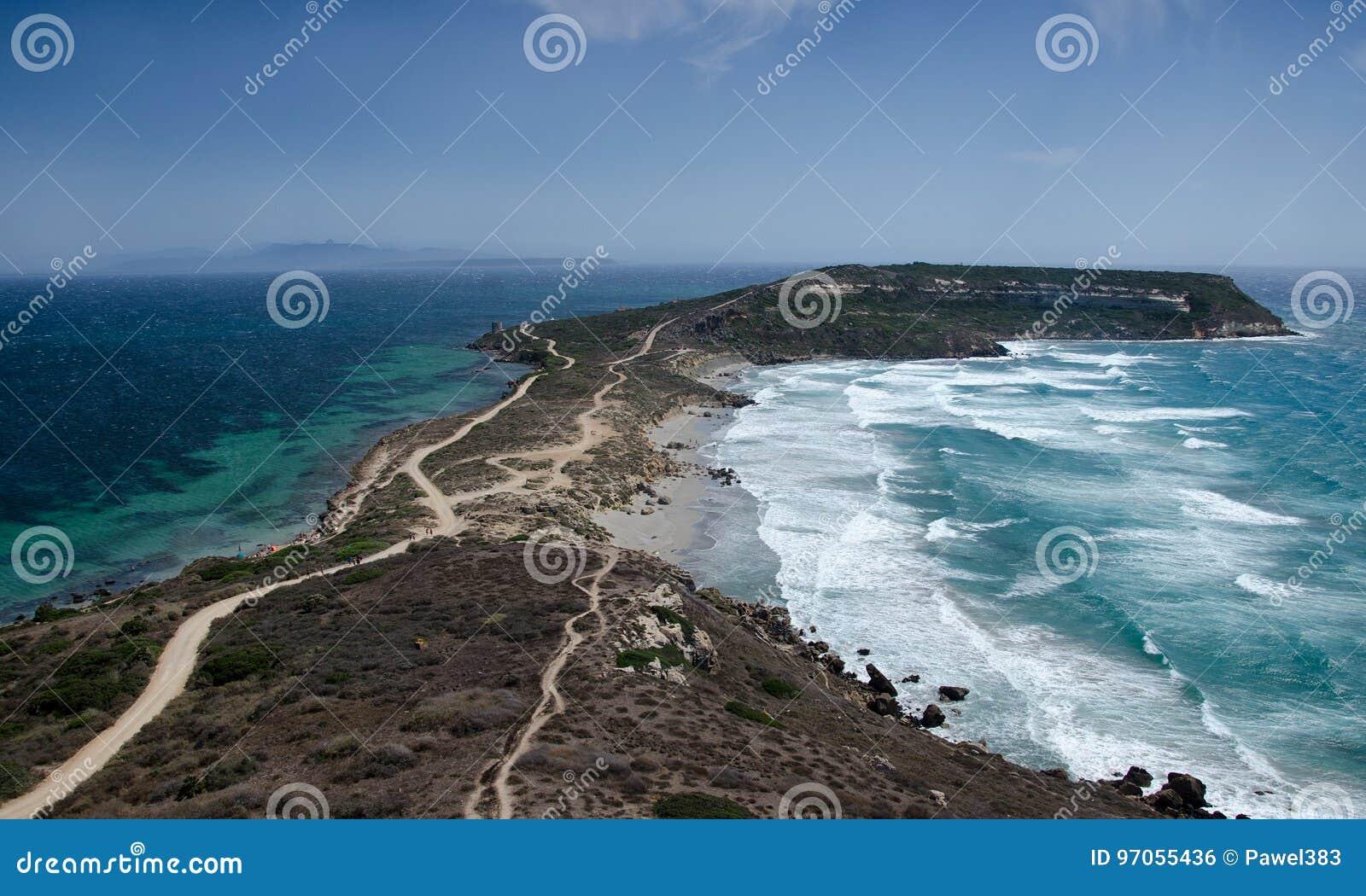 Άποψη Capo SAN Marco από Tharros, Σαρδηνία, Ιταλία