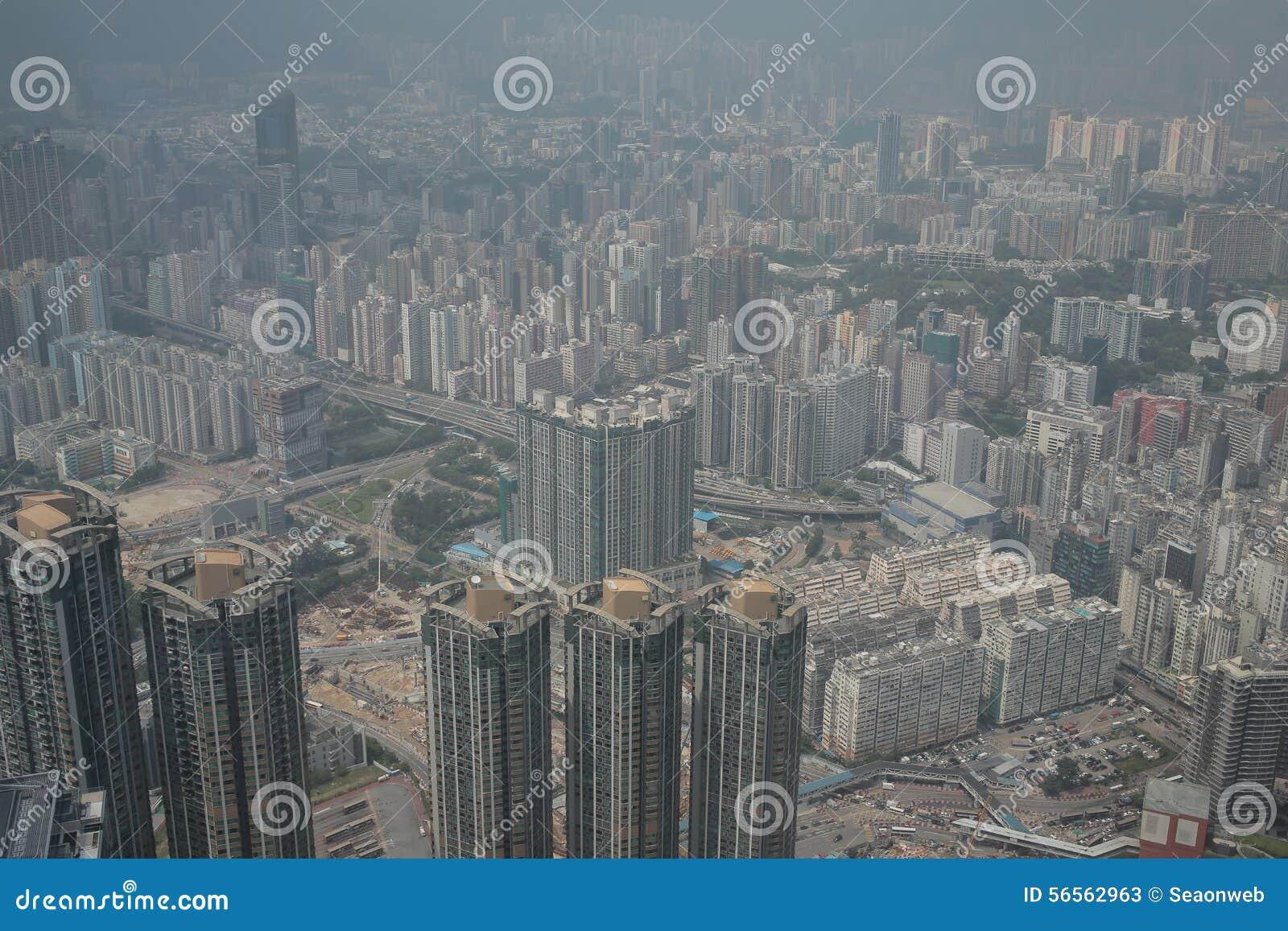 Download Άποψη Kowloon από το διεθνή κεντρικό ουρανοξύστη εμπορίου - Στοκ Εικόνα - εικόνα από τοπίο, περιοχή: 56562963