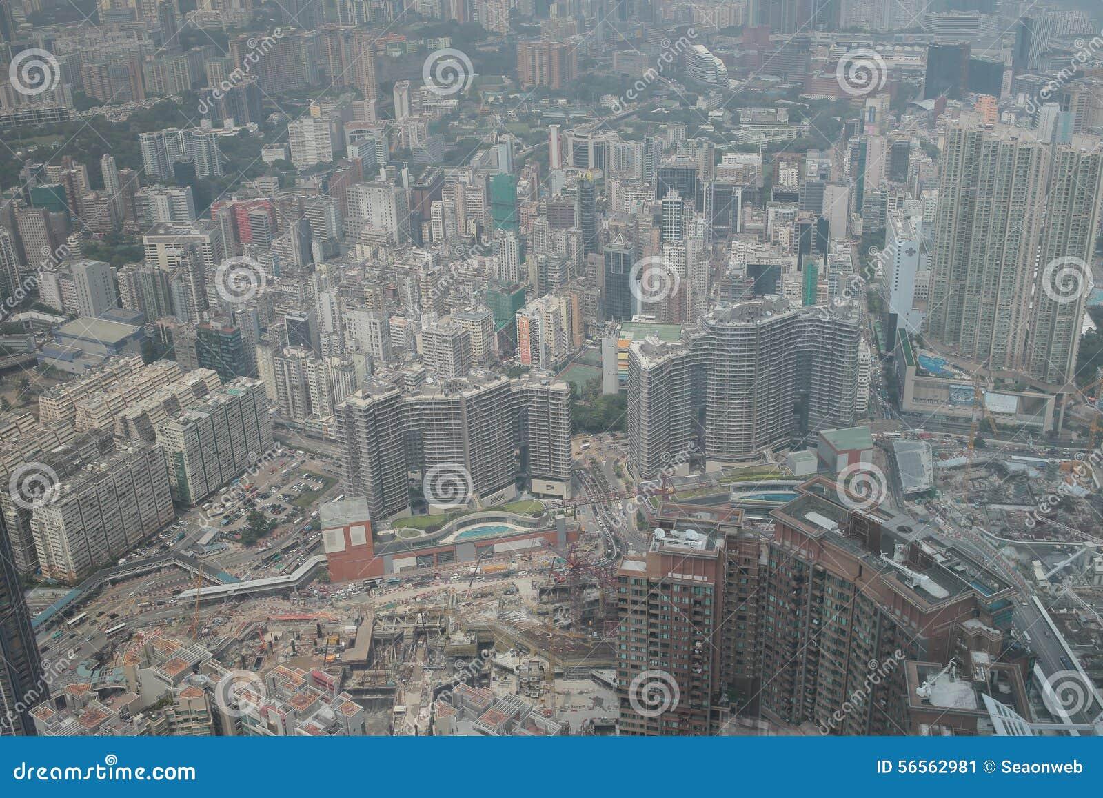 Download Άποψη Kowloon από το διεθνή κεντρικό ουρανοξύστη εμπορίου - Στοκ Εικόνα - εικόνα από υψηλός, σύγχρονος: 56562981