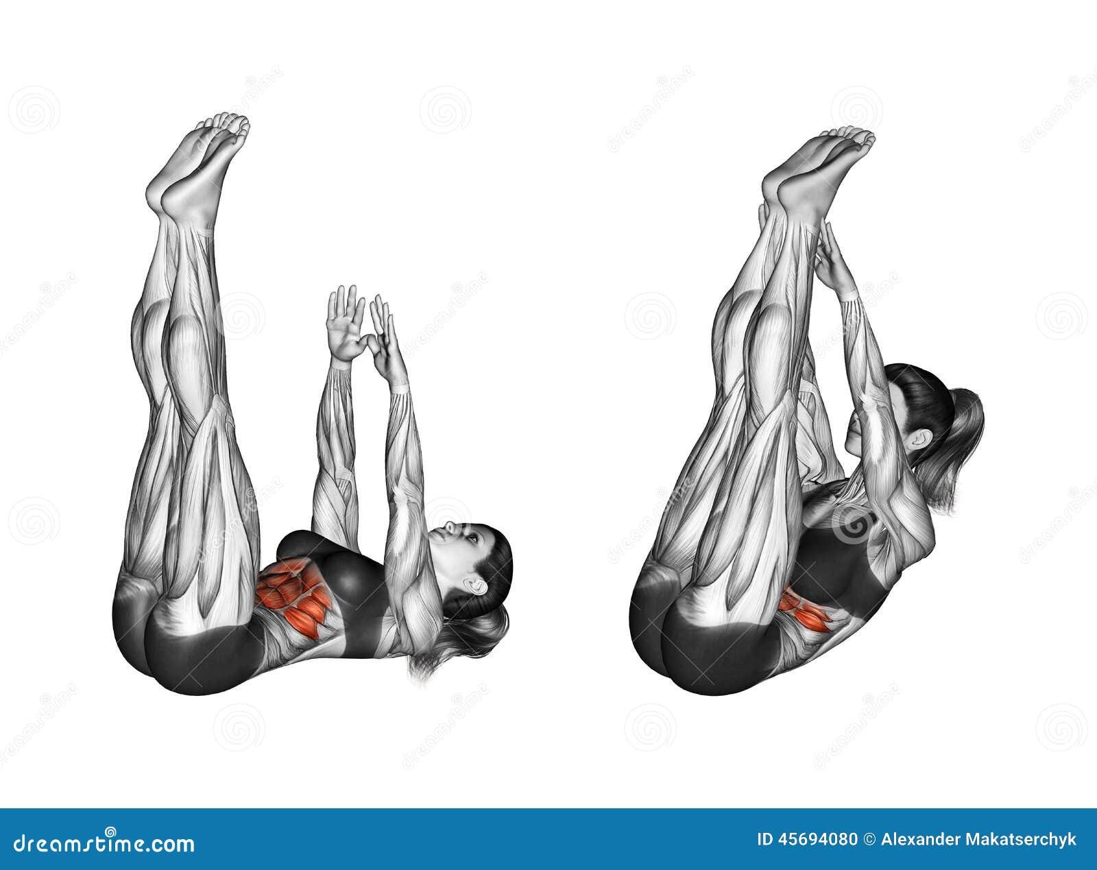 Άσκηση ικανότητας Κάμψη του σώματος με μια ένωση των χεριών και των ποδιών θηλυκό