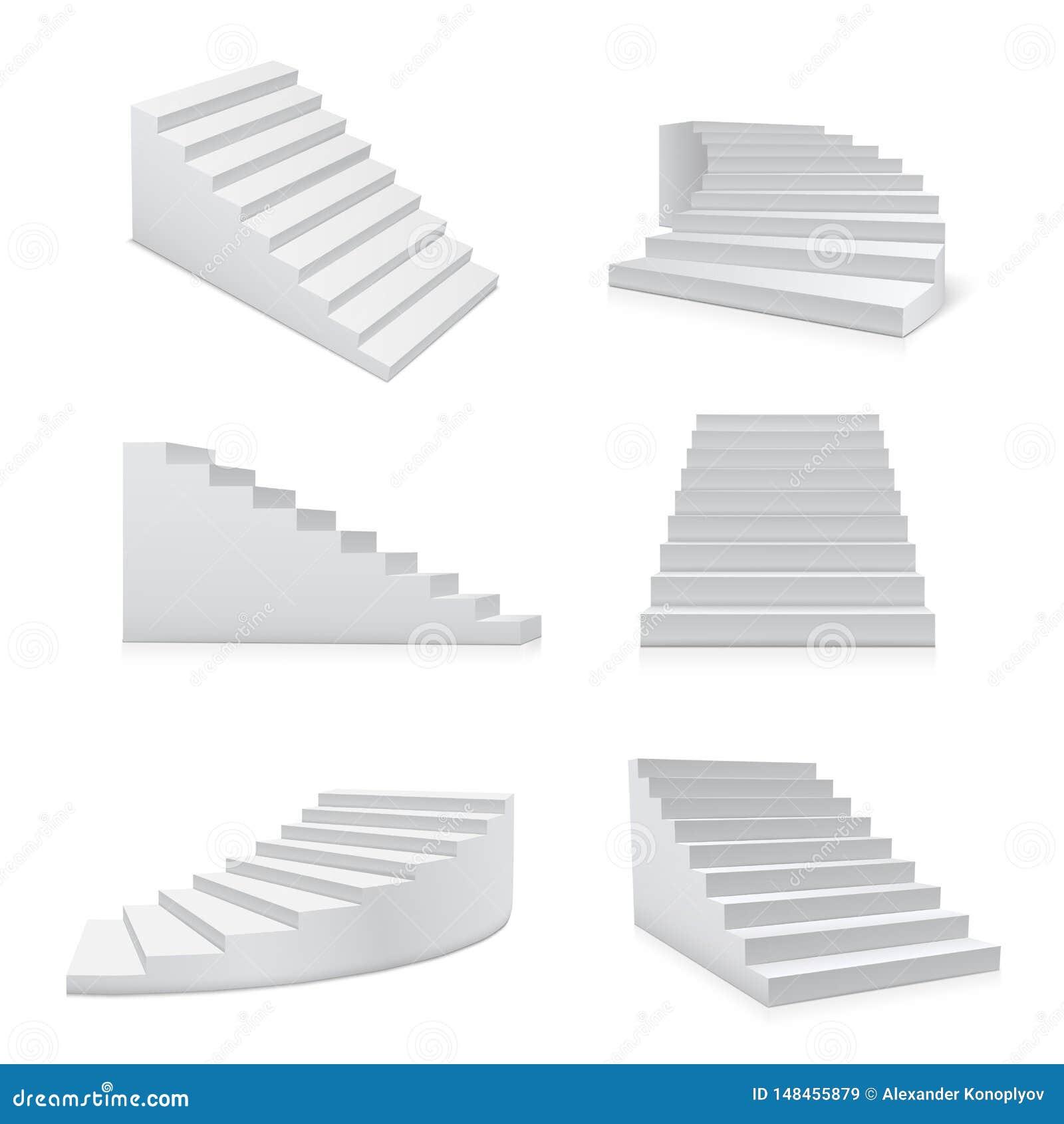 Άσπρα ρεαλιστικά σύνολο σκαλοπατιών, αρχιτεκτονική και στοιχείο προόδου