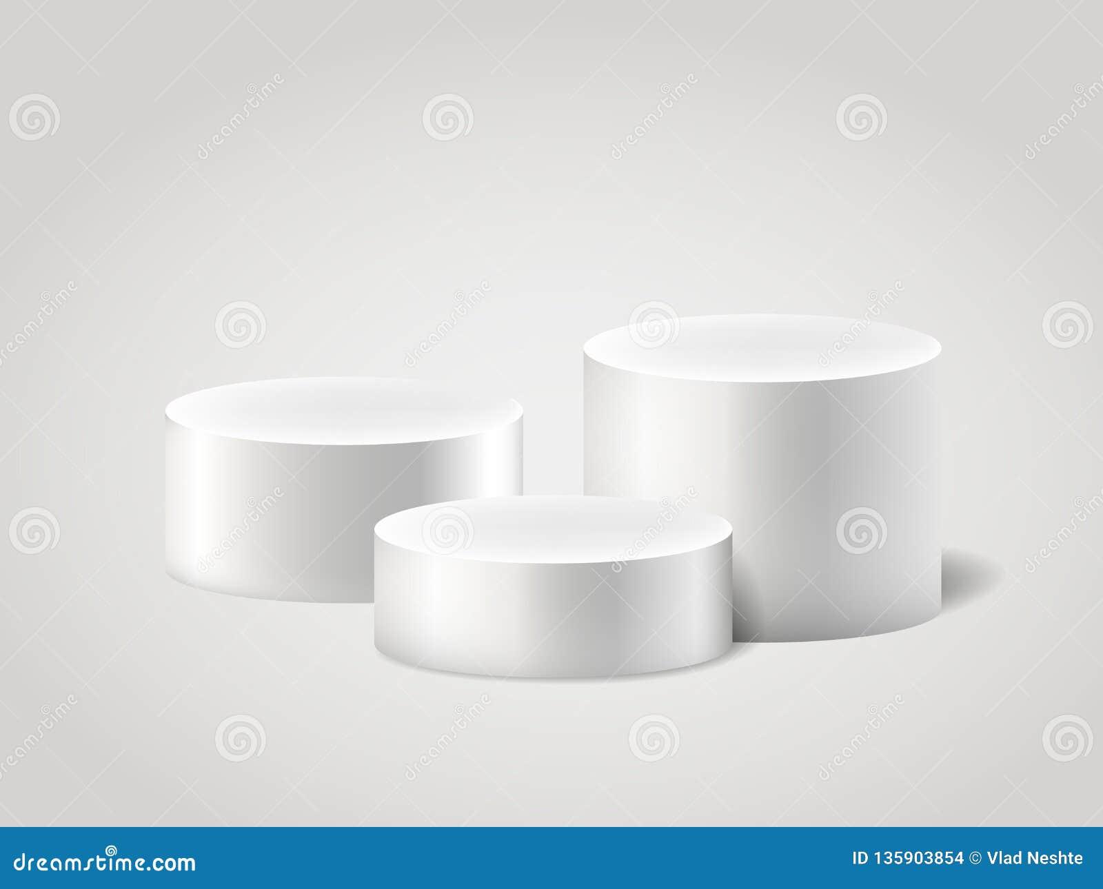 Άσπρα ρεαλιστικά ylinder και βάθρο, κενή στάση σκηνής τρισδιάστατο διανυσματικό σύνολο κυλίνδρων Εγκύκλιος κύκλων, εξεδρών και στ