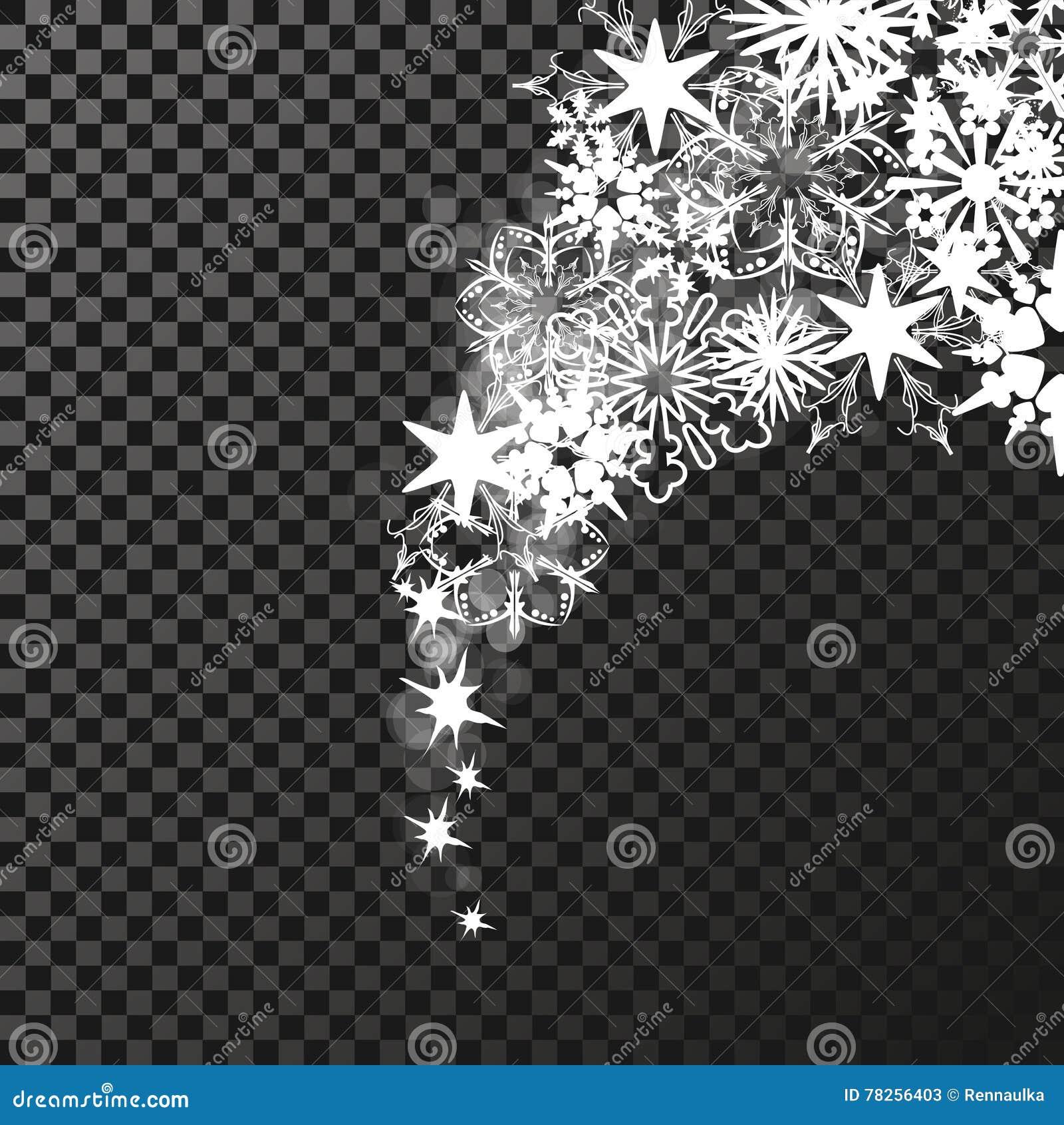 Άσπρα σύμβολα σπινθηρισμάτων στο σκοτεινό υπόβαθρο - το αστέρι ακτινοβολεί, αστρική φλόγα διαφάνειας Να λάμψει αντανακλάσεις