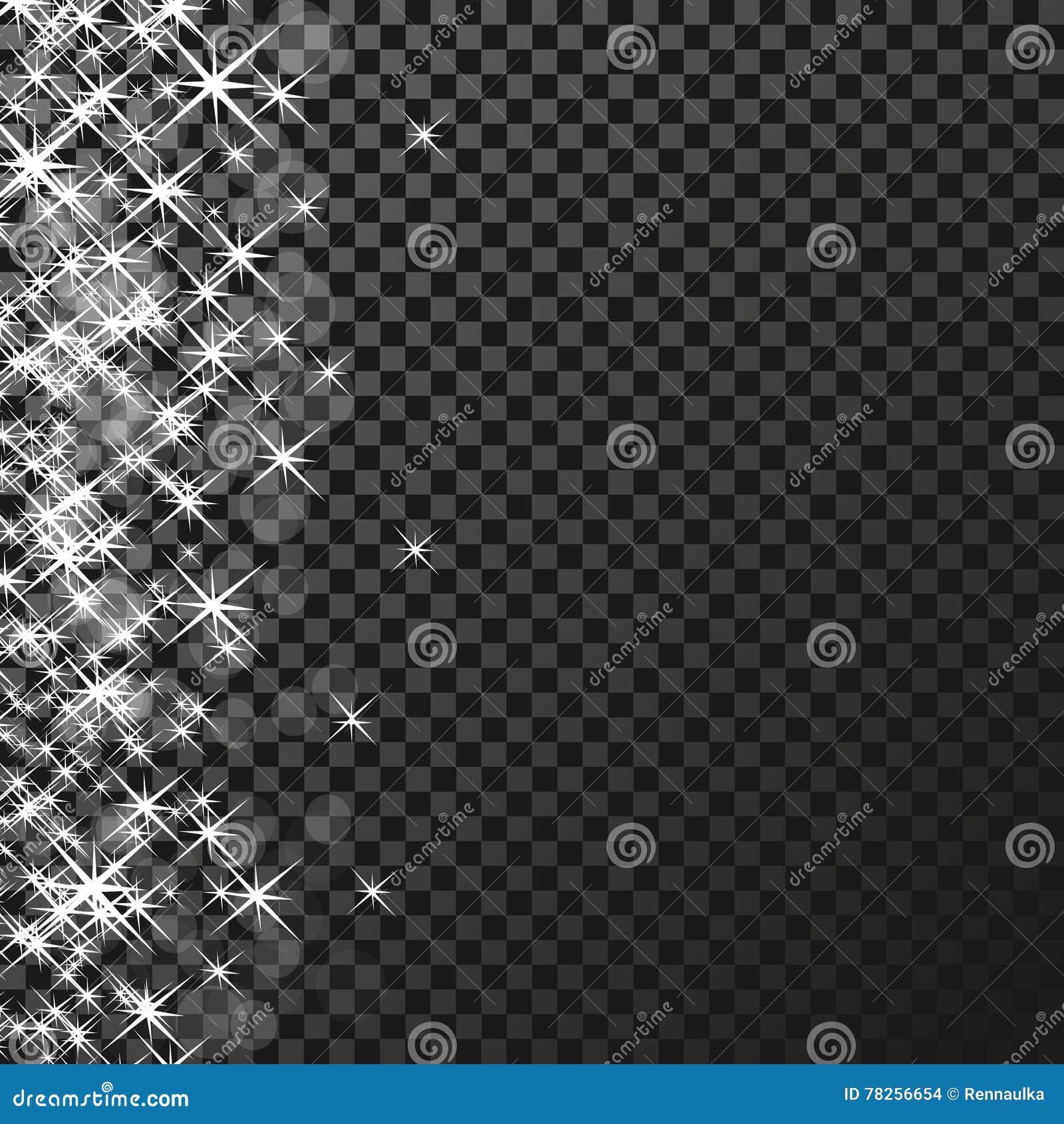 Άσπρα σύμβολα σπινθηρισμάτων στο σκοτεινό υπόβαθρο - το αστέρι ακτινοβολεί, αστρική φλόγα διαφάνειας Να λάμψει αντανακλάσεις Ακτι