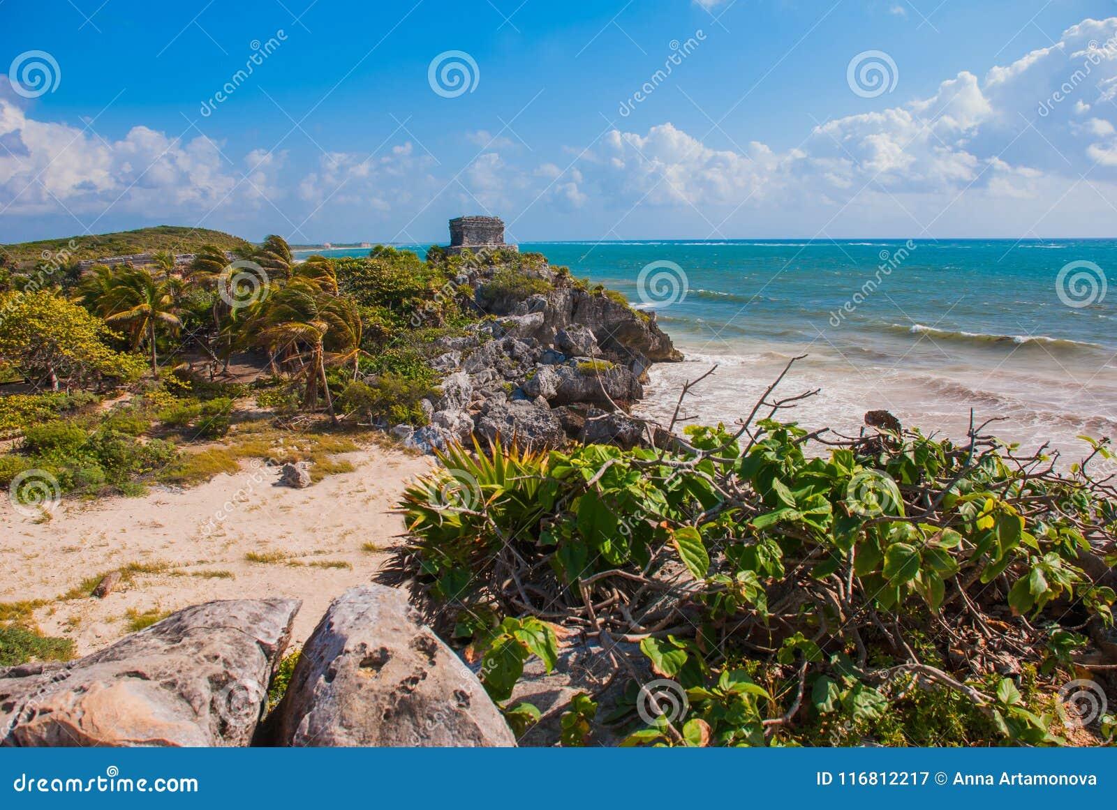 Άσπρη αμμώδης παραλία, φοίνικες, εγκαταστάσεις yucca και των Μάγια καταστροφές στο υπόβαθρο Riviera Maya στις Καραϊβικές Θάλασσες