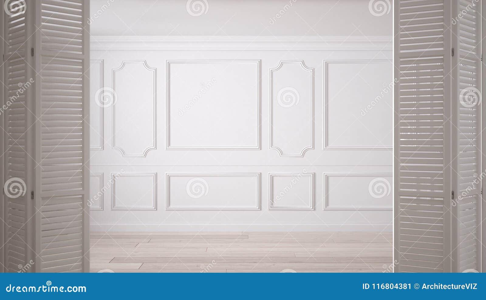 Άσπρη διπλώνοντας πόρτα που ανοίγει στο κλασικό κενό διάστημα με τα σχήματα στόκων και το πάτωμα παρκέ, εκλεκτής ποιότητας εσωτερ