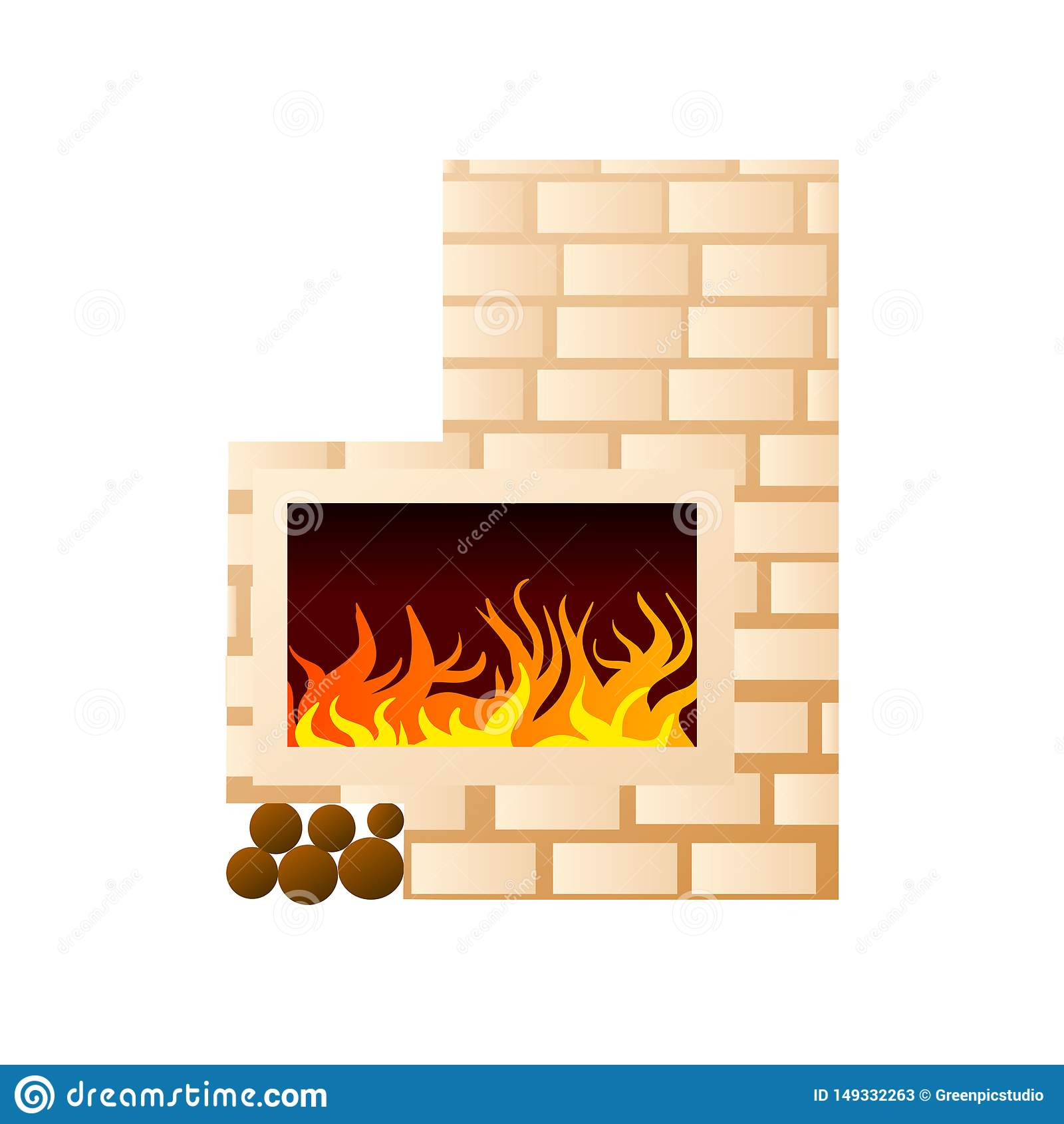 Άσπρη εγχώρια εστία τούβλου με το κάψιμο της πυρκαγιάς και της θέσης για το ξύλο