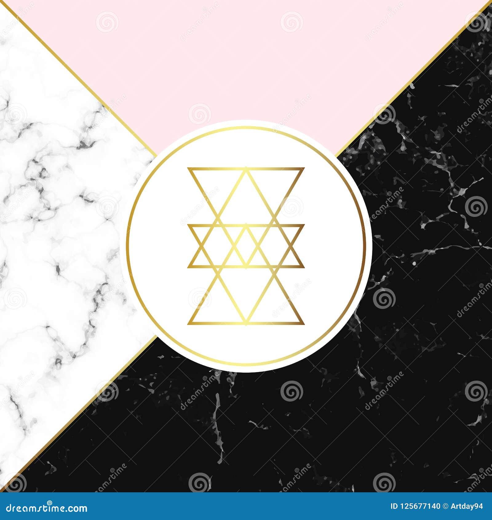 Άσπρη και μαύρη σύσταση μαρμάρου ή πετρών και ρόδινο υπόβαθρο Καθιερώνουσα τη μόδα γεωμετρική αφίσα Σύγχρονη αφηρημένη κάρτα Πρότ