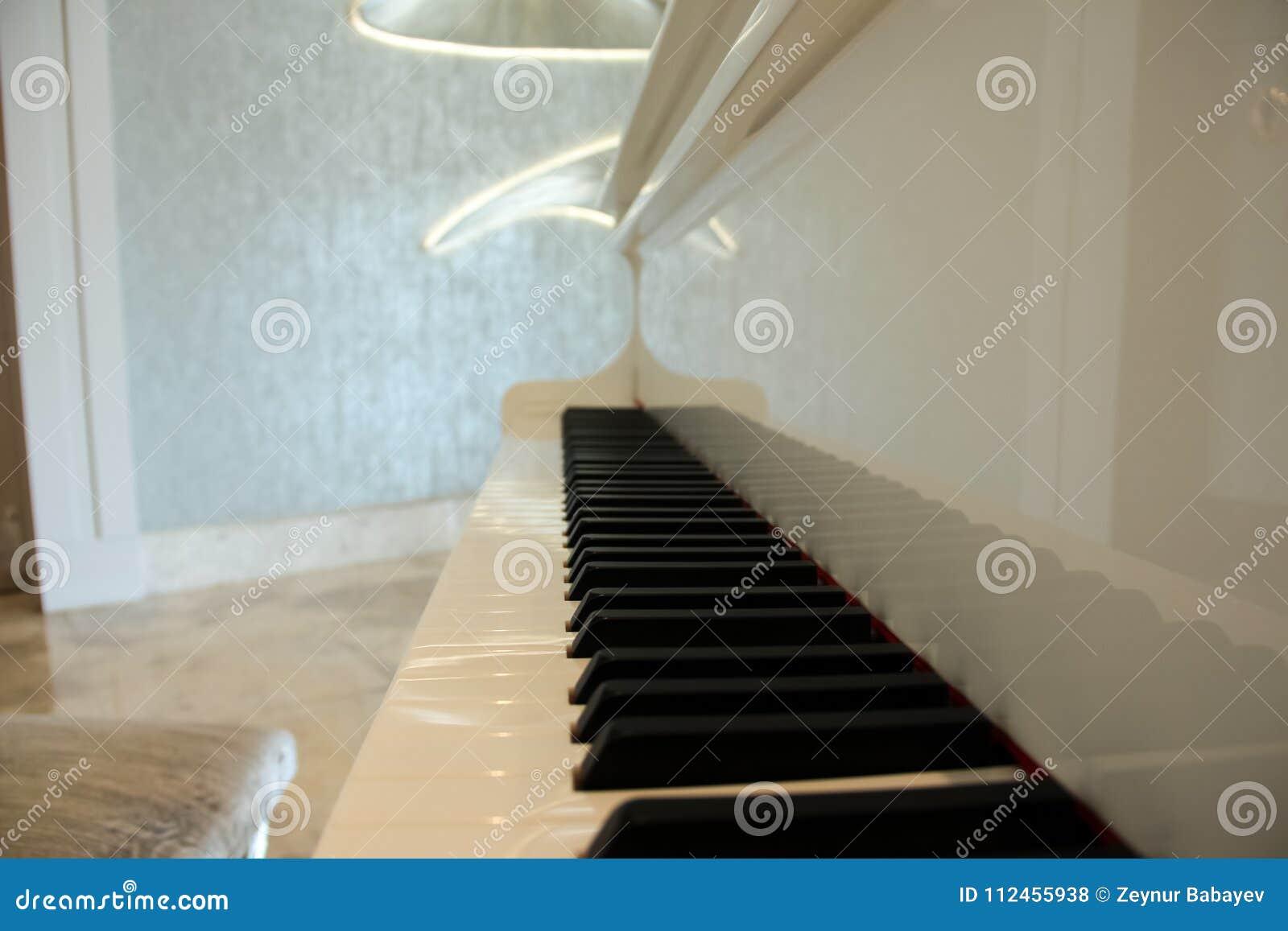 Άσπρη μεγάλη κινηματογράφηση σε πρώτο πλάνο πιάνων πυροβοληθείσα, μουσικό όργανο black ivory keys piano white