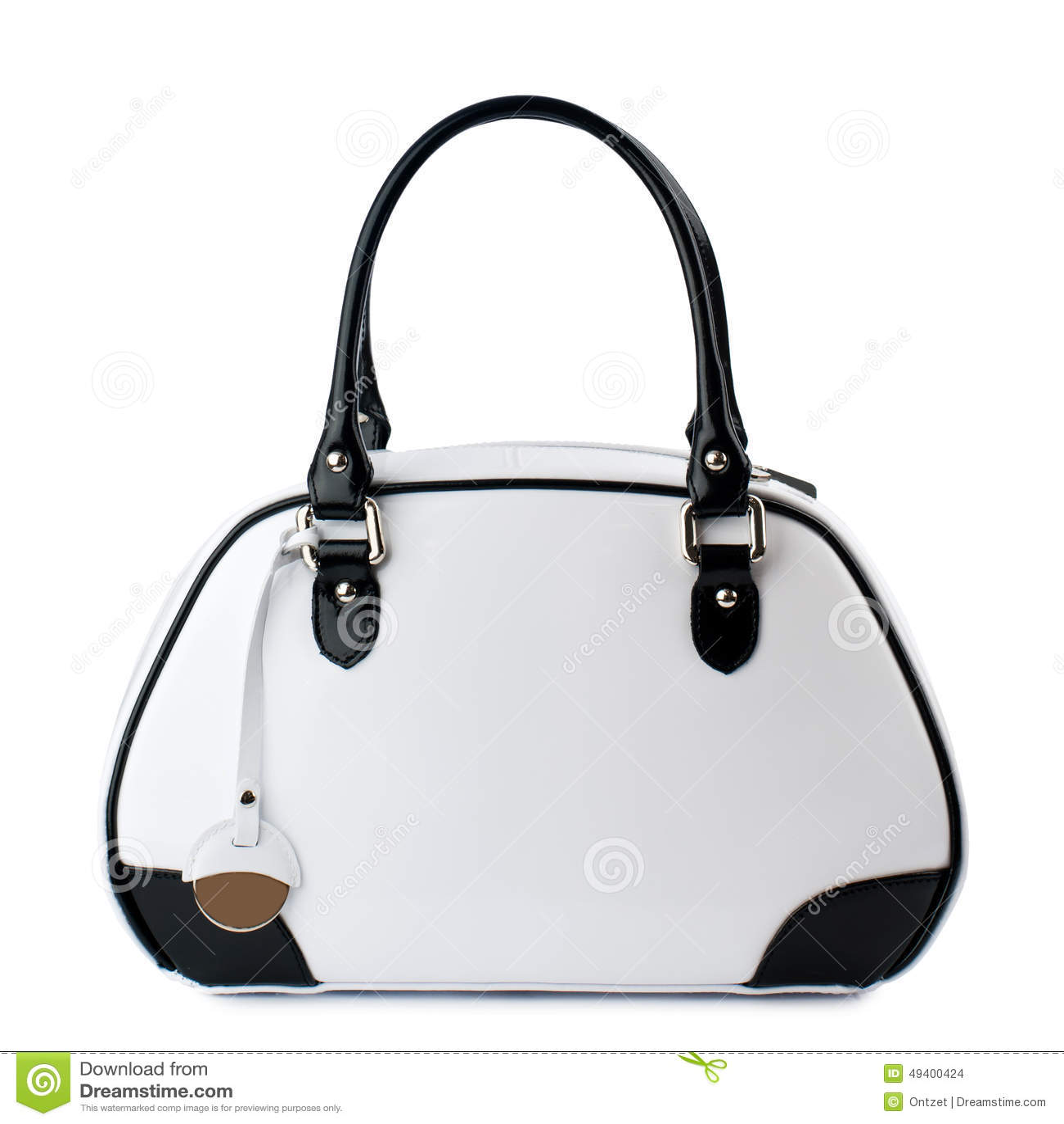 164cee2912 Άσπρη τσάντα με τις μαύρες λαβές που απομονώνονται στο άσπρο υπόβαθρο
