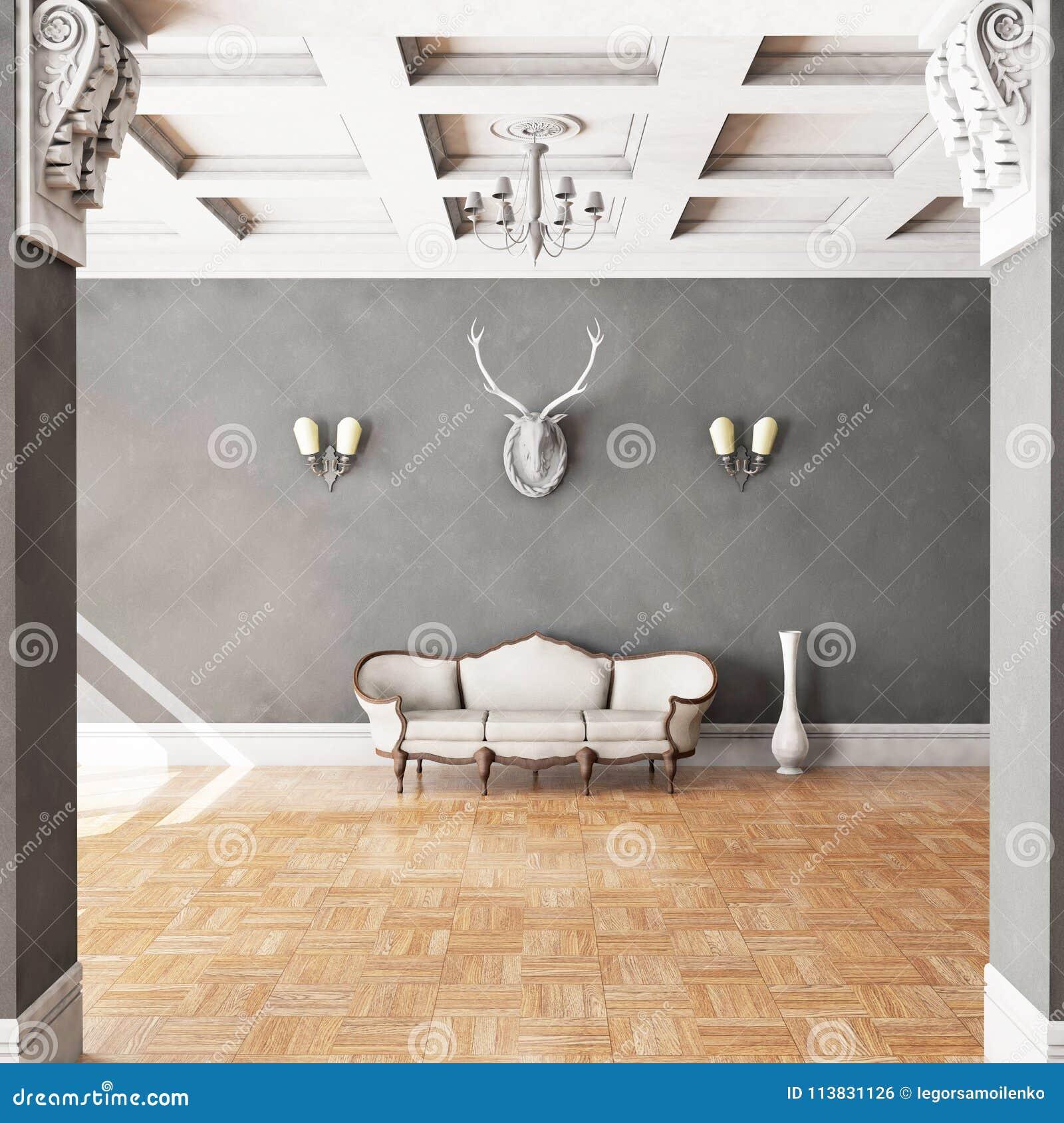 Άσπρος κλασσικός καναπές ύφους στο εκλεκτής ποιότητας δωμάτιο