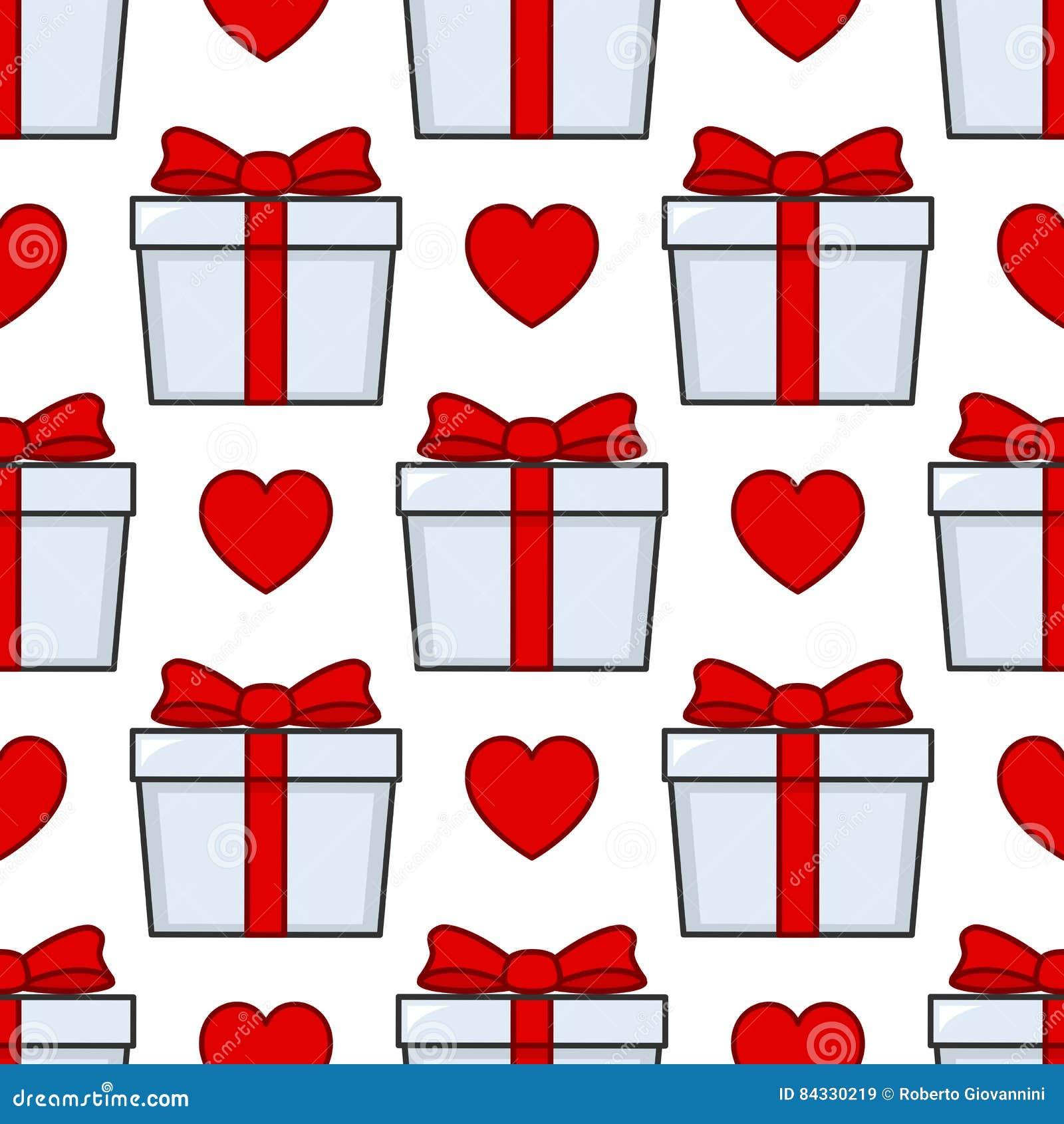 Άσπρο άνευ ραφής σχέδιο κορδελλών δώρων κόκκινο
