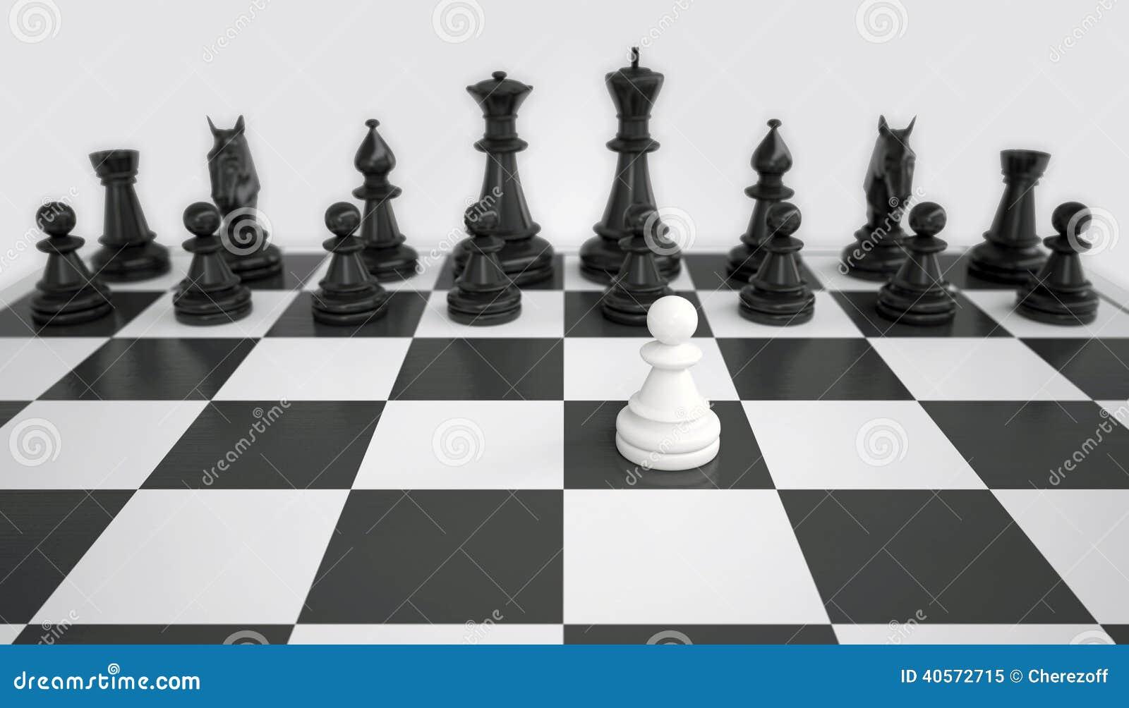 Άσπρο ενέχυρο ενώπιον του στρατού των μαύρων κομματιών σκακιού