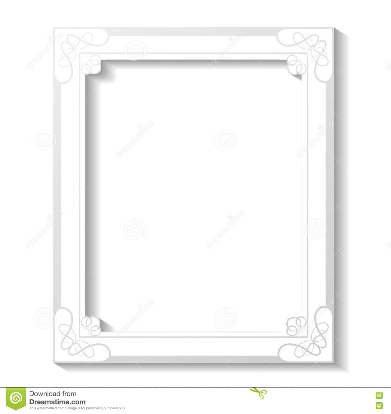 Άσπρο διακοσμητικό πλαίσιο στο άσπρο υπόβαθρο Πλαίσιο ορθογωνίων διακοσμήσεων για τη φωτογραφία σας σύνορα διακοσμητικά