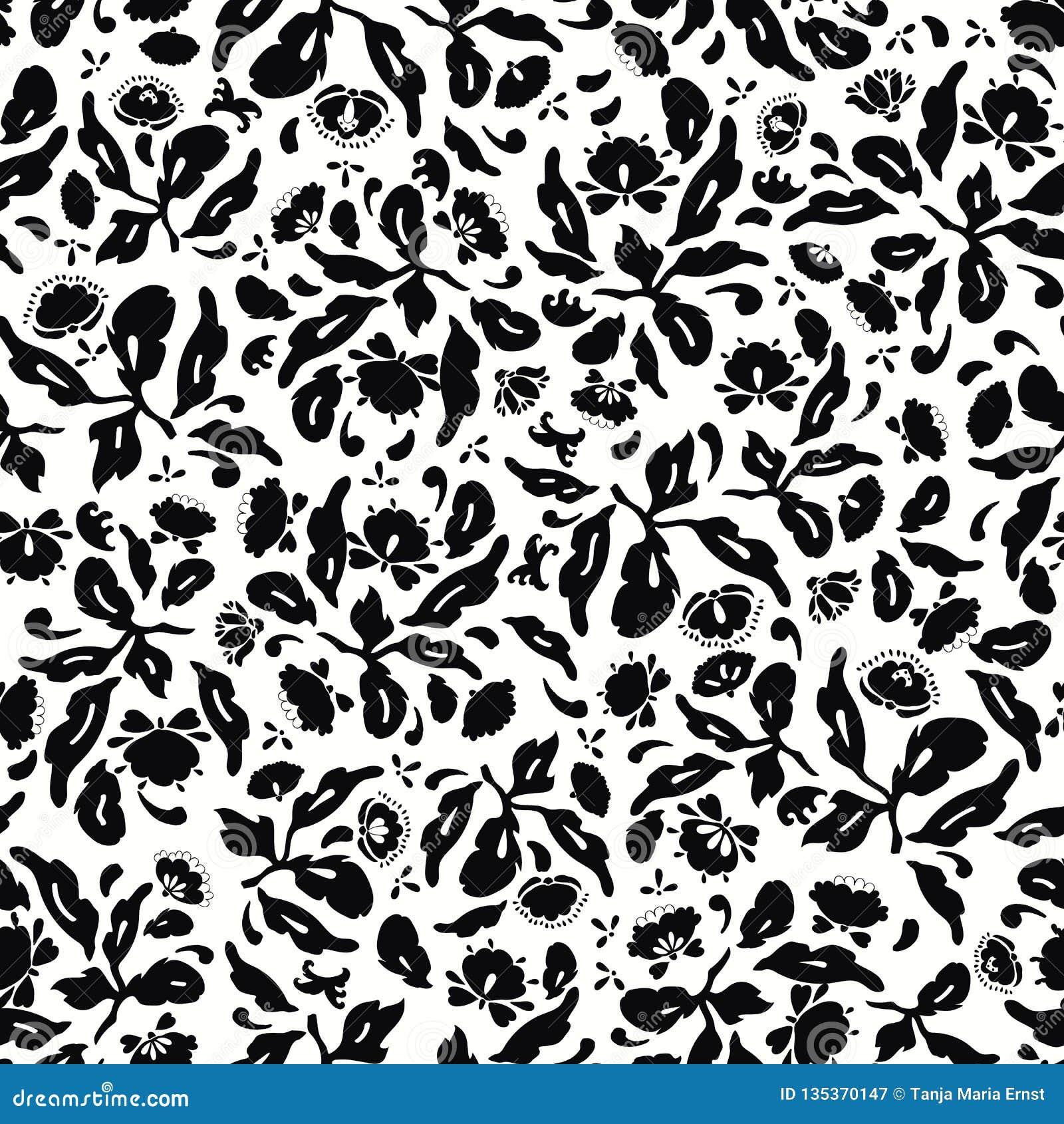 Άσπρο και μαύρο λαϊκό floral σχέδιο τέχνης