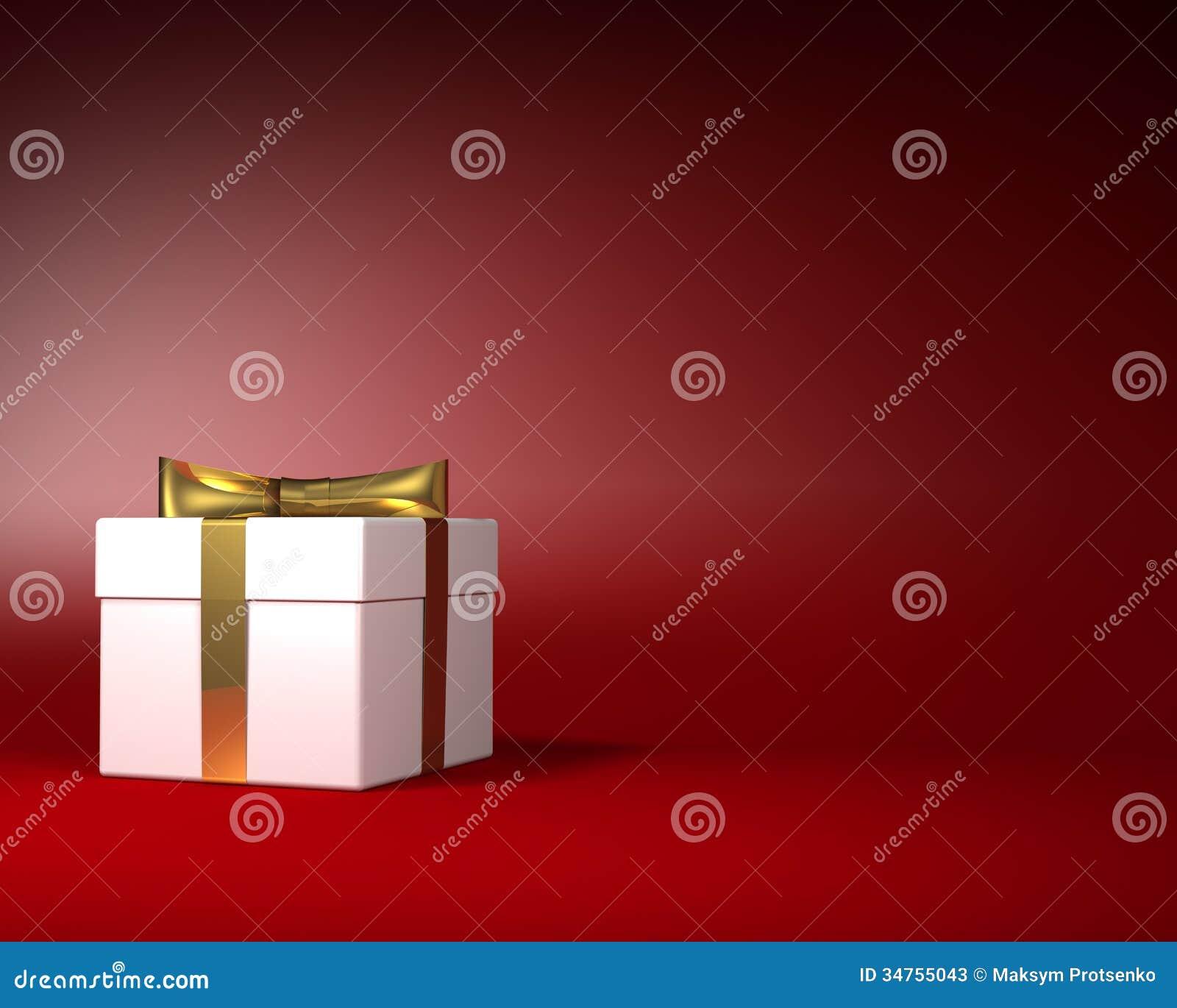 Άσπρο κιβώτιο δώρων με τη χρυσή κορδέλλα και τόξο στο κόκκινο υπόβαθρο