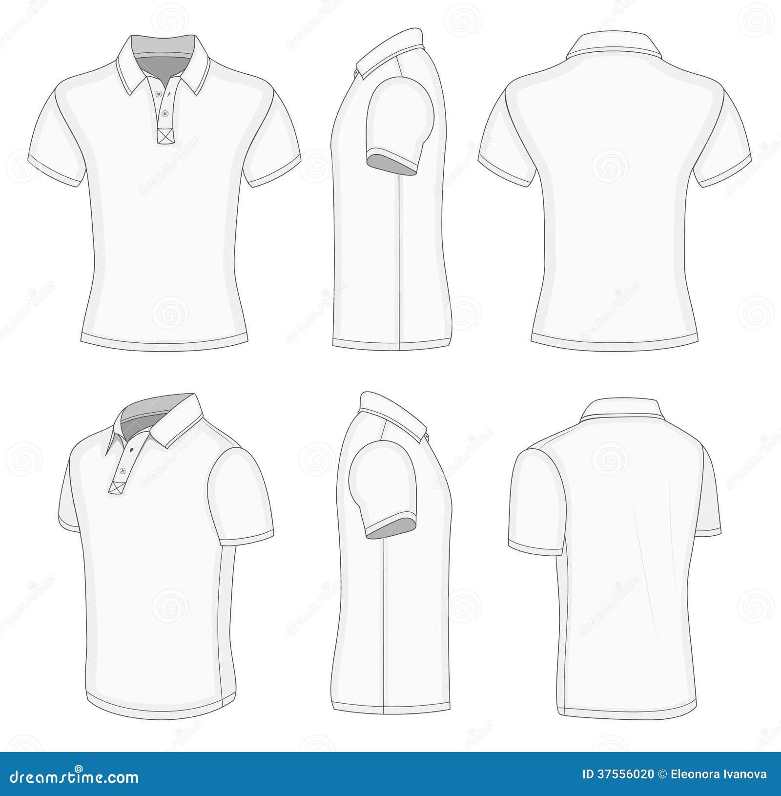 Άσπρο κοντό πουκάμισο πόλο μανικιών ατόμων.