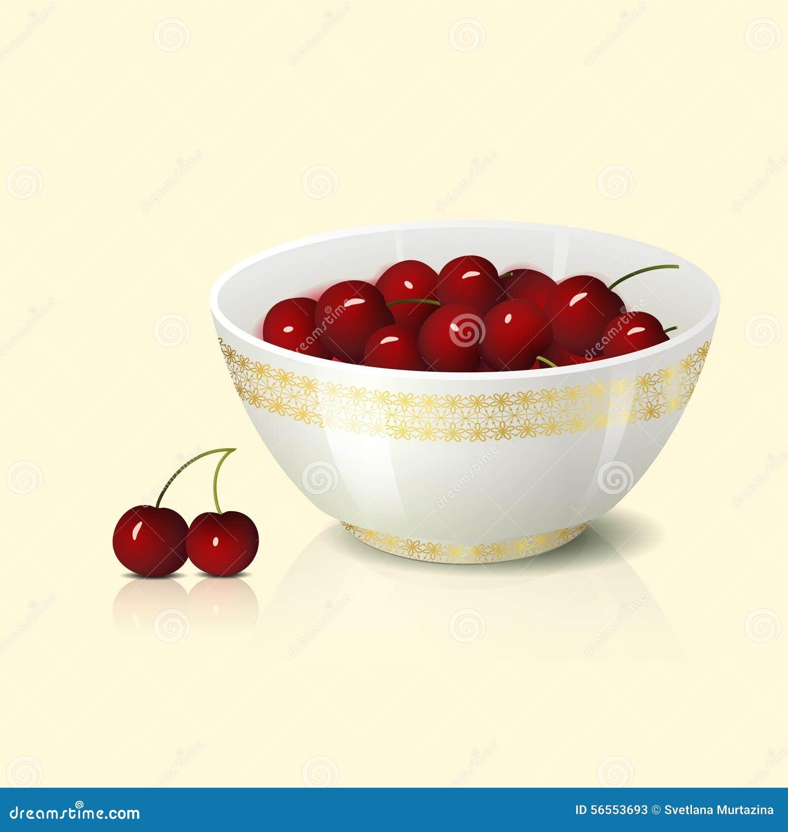 Download Άσπρο κύπελλο με τη σκιά και την αντανάκλαση κερασιών Απεικόνιση αποθεμάτων - εικονογραφία από κόκκινος, επιδόρπιο: 56553693