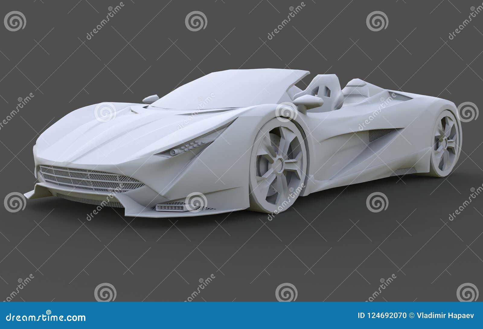 Άσπρο πλαστικό εννοιολογικό πρότυπο ενός αθλητικού αυτοκινήτου μετατρέψιμου σε ένα γκρίζο υπόβαθρο τρισδιάστατη απόδοση