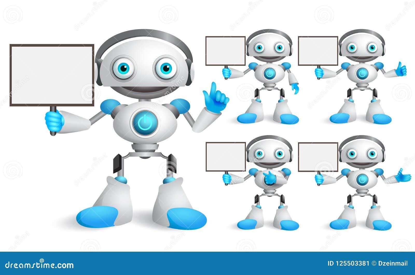 Άσπρο σύνολο χαρακτήρων ρομπότ διανυσματικό που μιλά κρατώντας την κενή αφίσσα