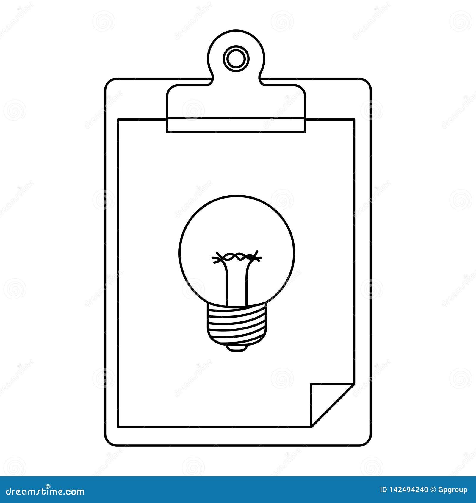 Άσπρο υπόβαθρο με τη μονοχρωματική σκιαγραφία του επιτραπέζιου σημειωματάριου με το φύλλο και γραφικός της λάμπας φωτός