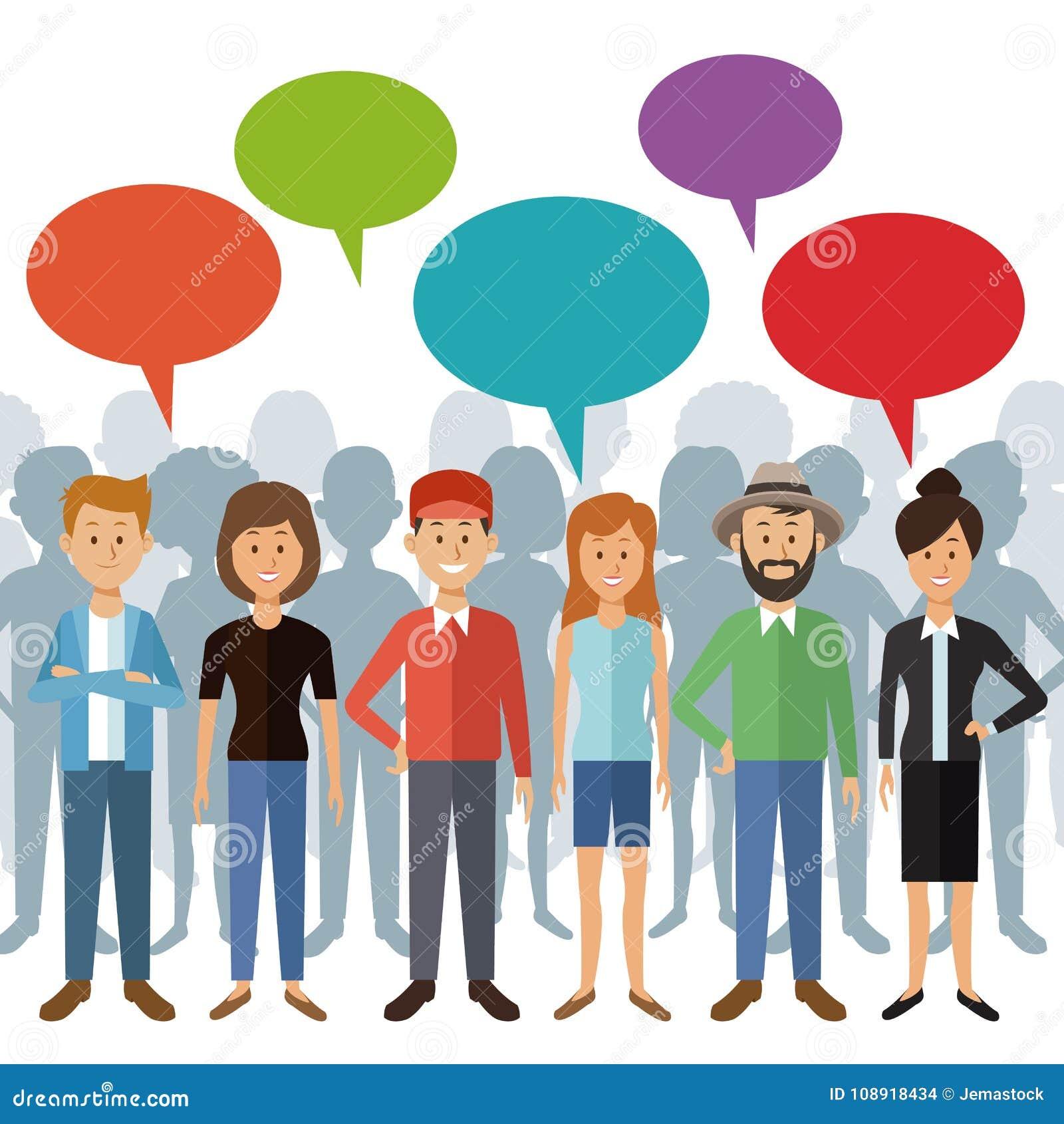 Άσπρο υπόβαθρο με τους πλήρεις ανθρώπους ομάδας σωμάτων που στέκονται με το πλαίσιο και τη σκιά διαλόγου πίσω των προσώπων