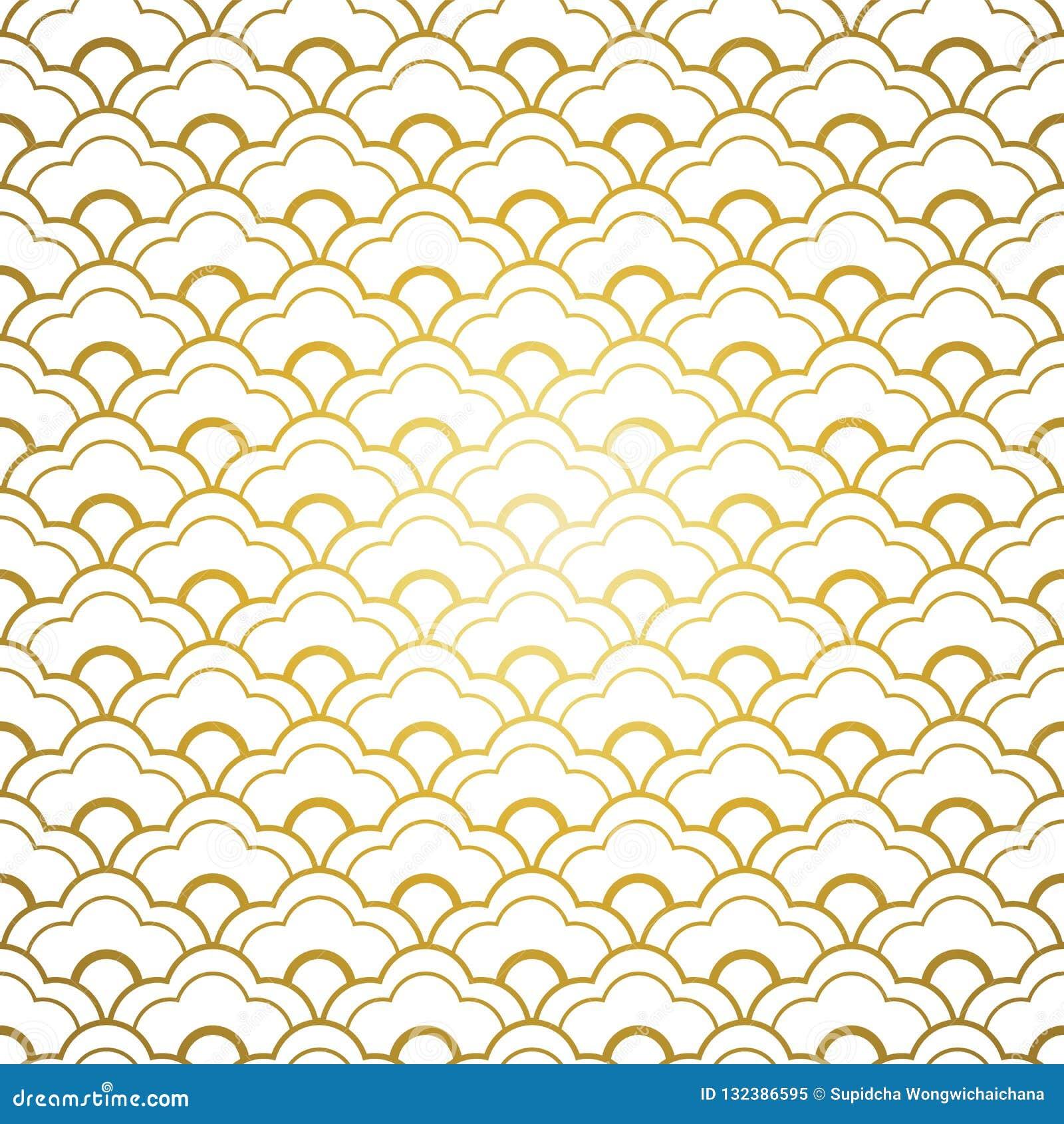 Άσπρο χρυσό κινεζικό άνευ ραφής σχέδιο