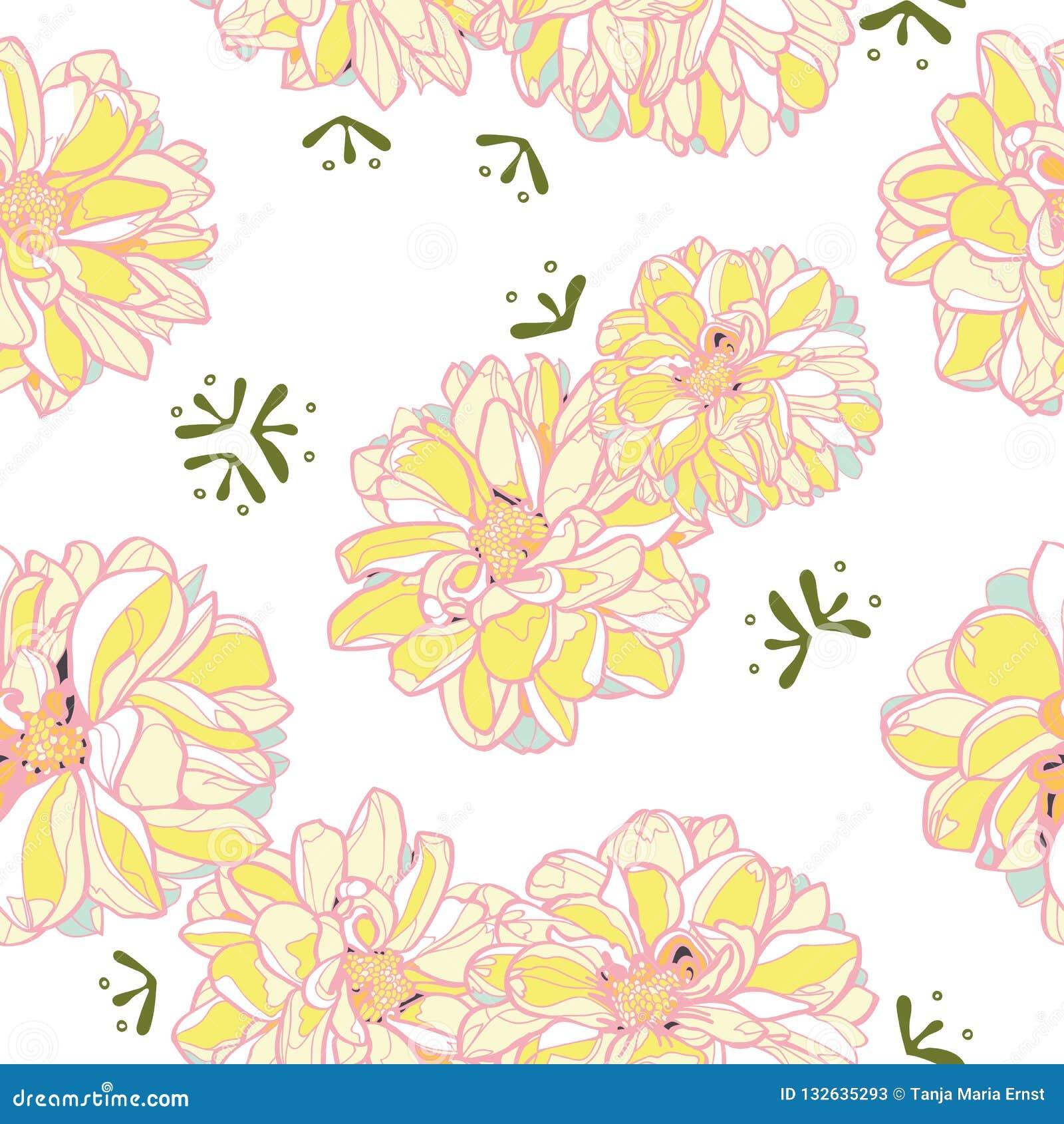 Άσπρο floral σχέδιο με την κίτρινη ντάλια