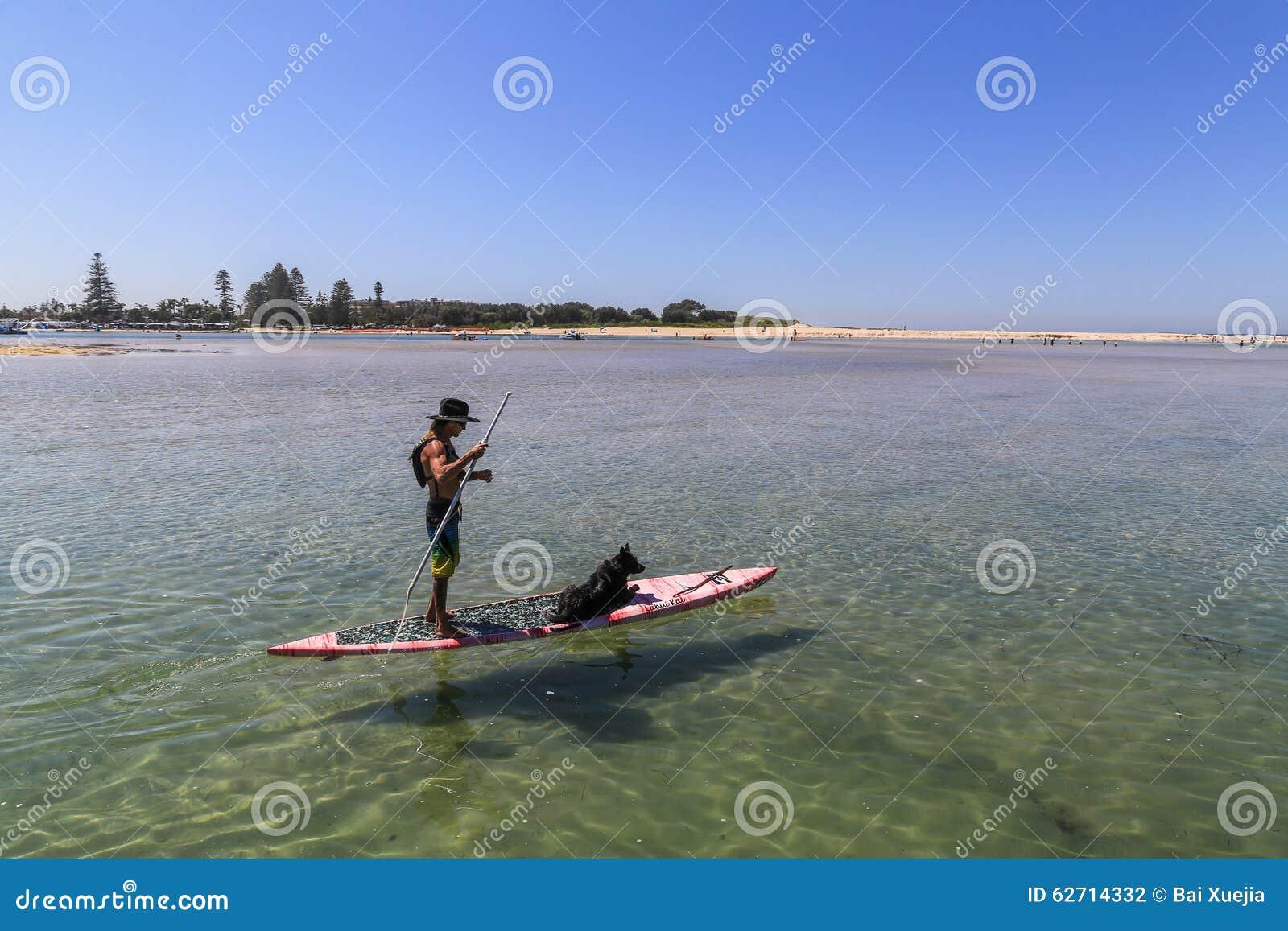 Άτομο και σκυλί στον πίνακα, λιμένας stephens, Αυστραλία
