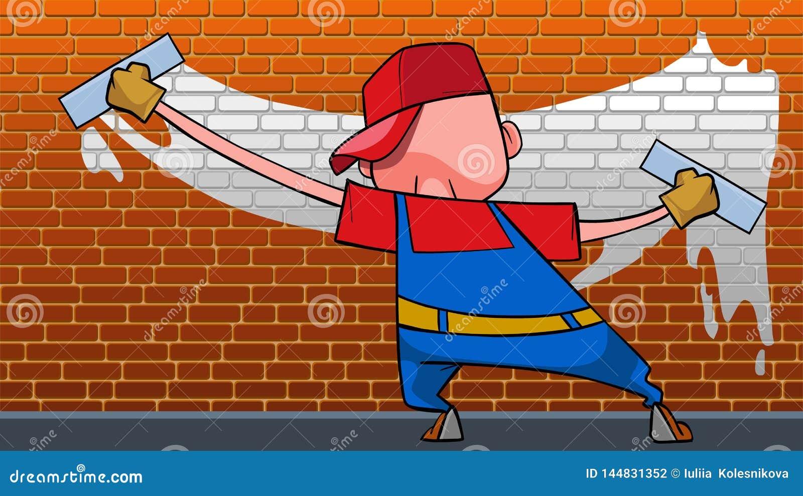 Άτομο κινούμενων σχεδίων με δύο αστεία χρώματα κυλίνδρων ο τοίχος