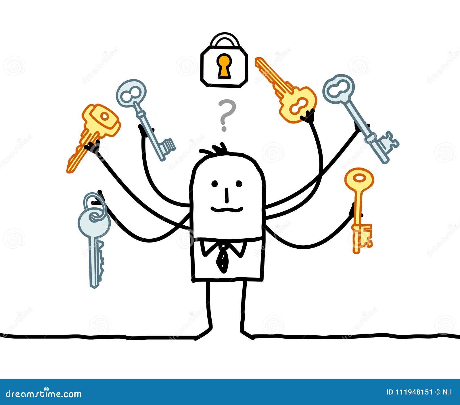 Άτομο κινούμενων σχεδίων με τα πολυ κλειδιά και τη λύση