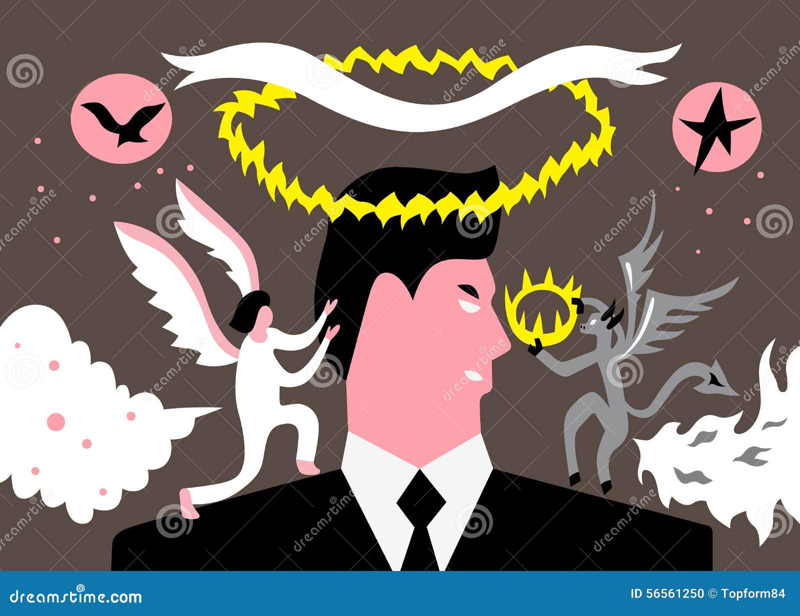Download Άτομο μεταξύ του αγγέλου και του δαίμονα Διανυσματική απεικόνιση - εικονογραφία από απεικόνιση, holiness: 56561250