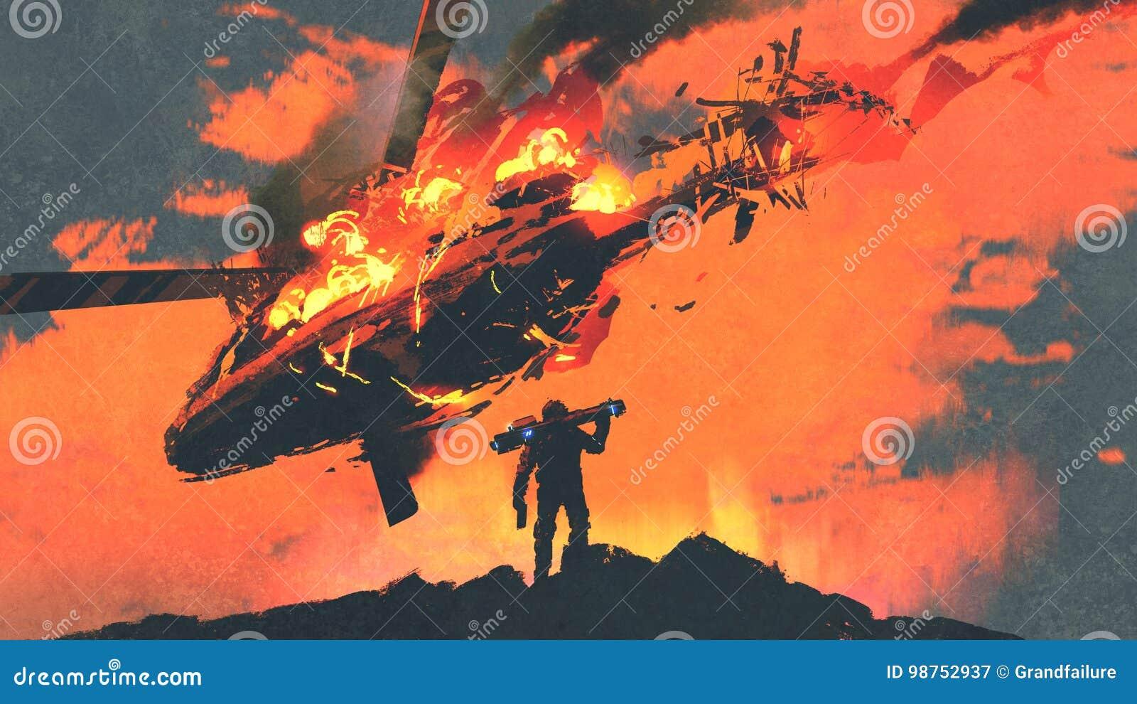 Άτομο με το εκτοξευτή ρουκετών που φαίνεται καίγοντας μειωμένο ελικόπτερο