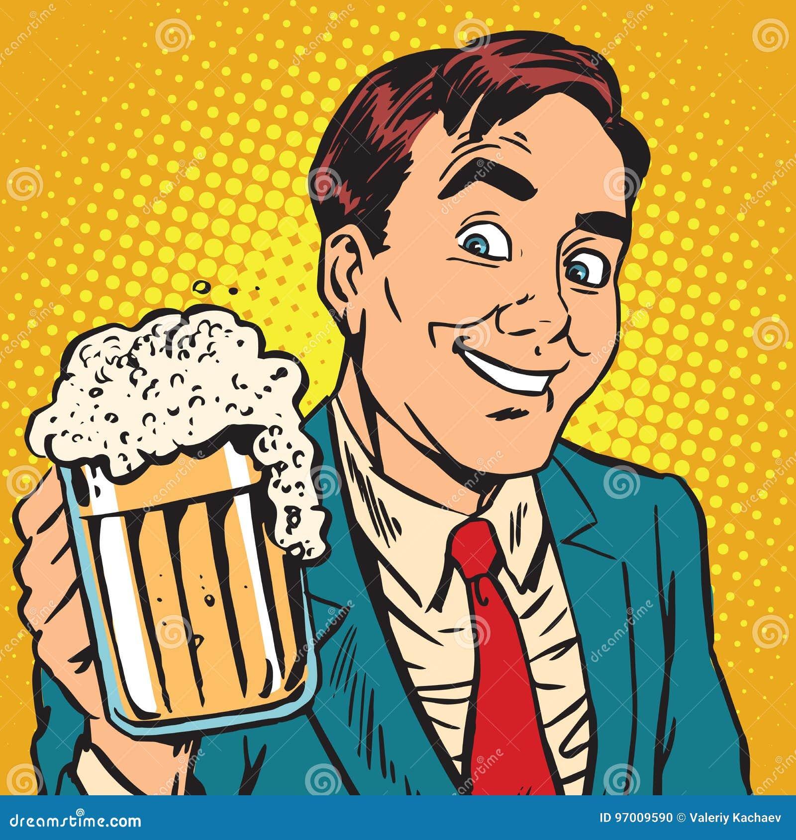 Άτομο πορτρέτου Printavatar με μια κούπα της αφρίζοντας μπύρας