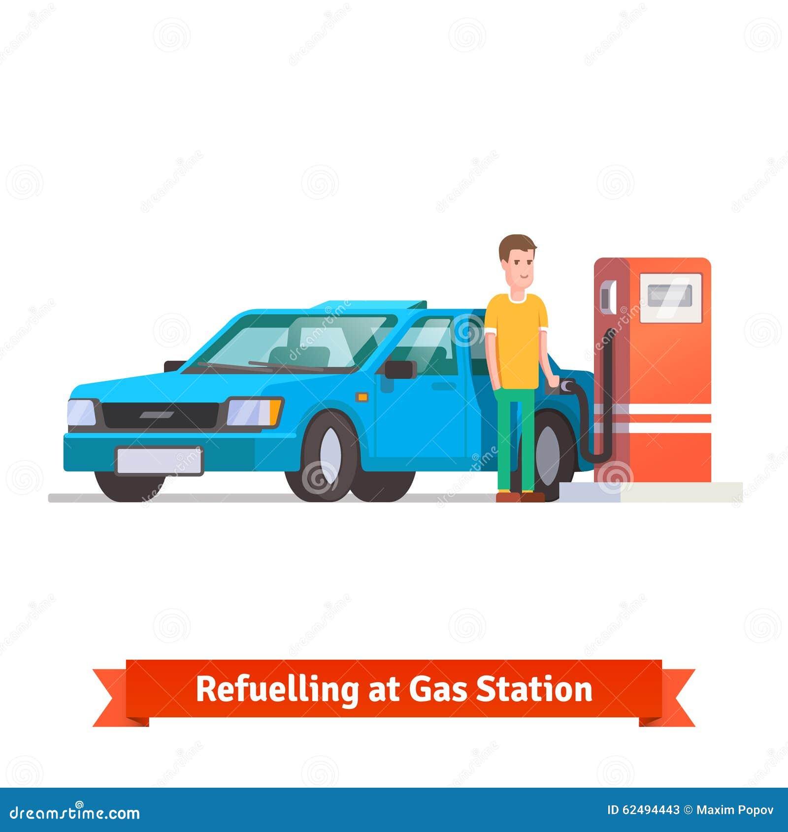 Άτομο που ανεφοδιάζει σε καύσιμα το αυτοκίνητό του στο πρατήριο καυσίμων