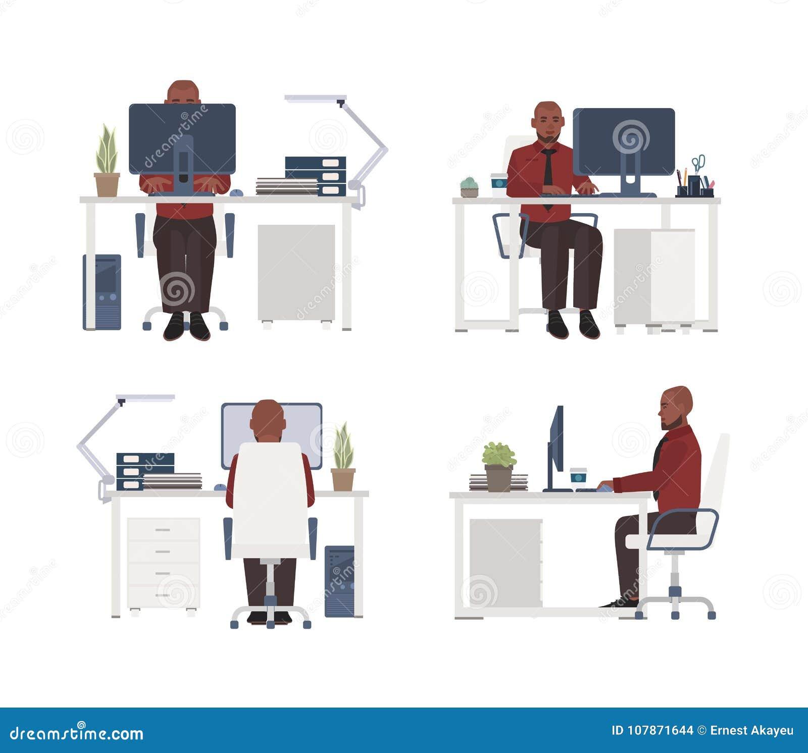 Άτομο που εργάζεται στον υπολογιστή στον εργασιακό χώρο Αρσενική συνεδρίαση εργαζομένων γραφείων στην καρέκλα στο γραφείο Επίπεδο
