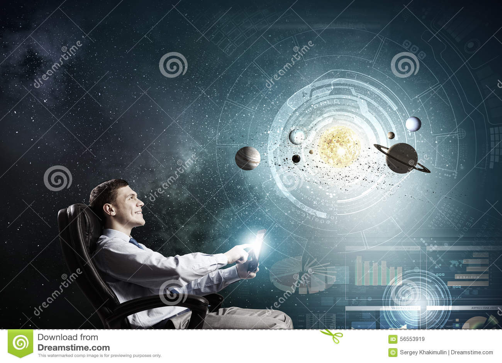 Download Άτομο που ερευνά το διάστημα Στοκ Εικόνα - εικόνα από κόσμος, φως: 56553919