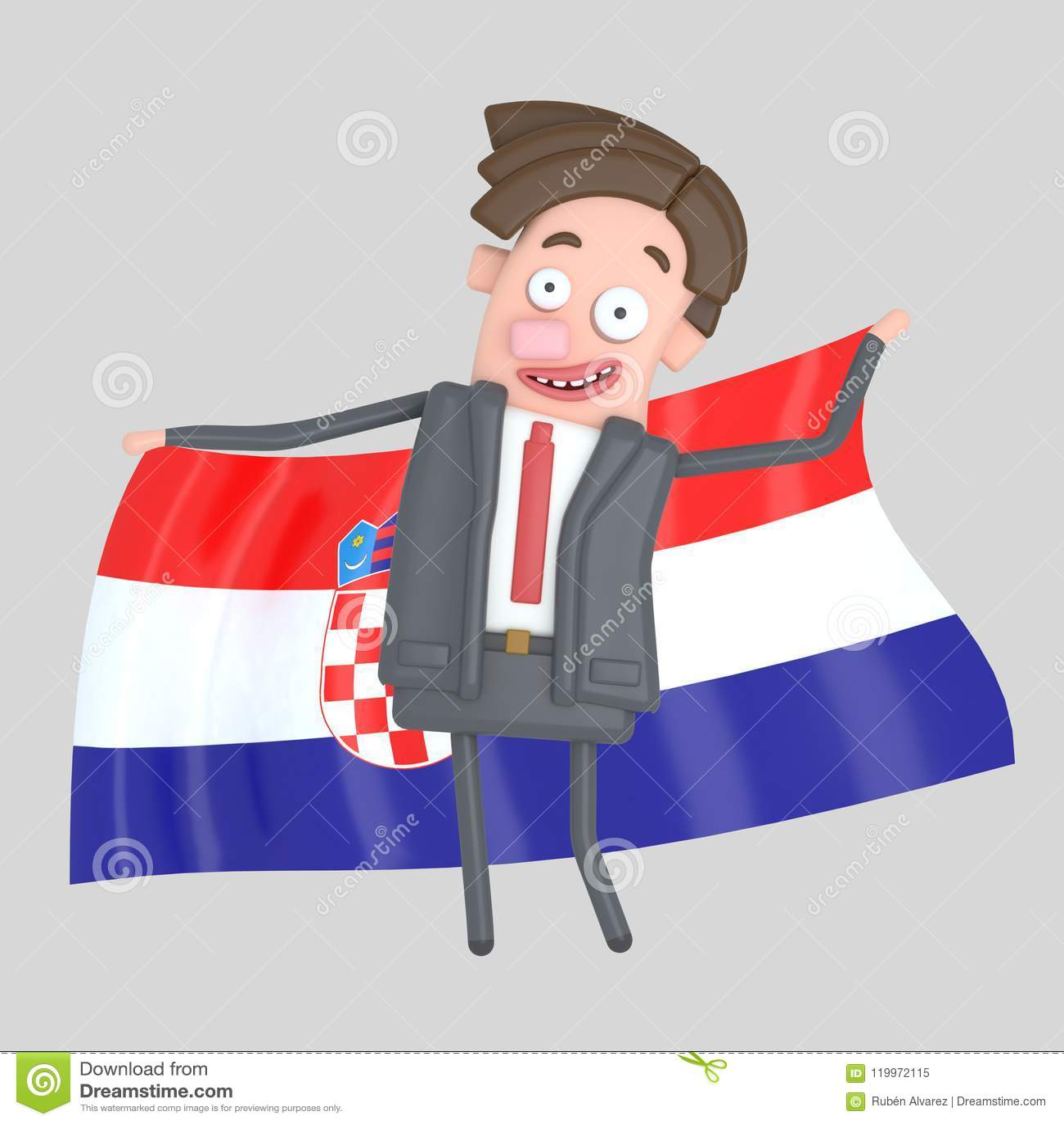 Άτομο που κρατά μια μεγάλη σημαία της Κροατίας τρισδιάστατη απεικόνιση