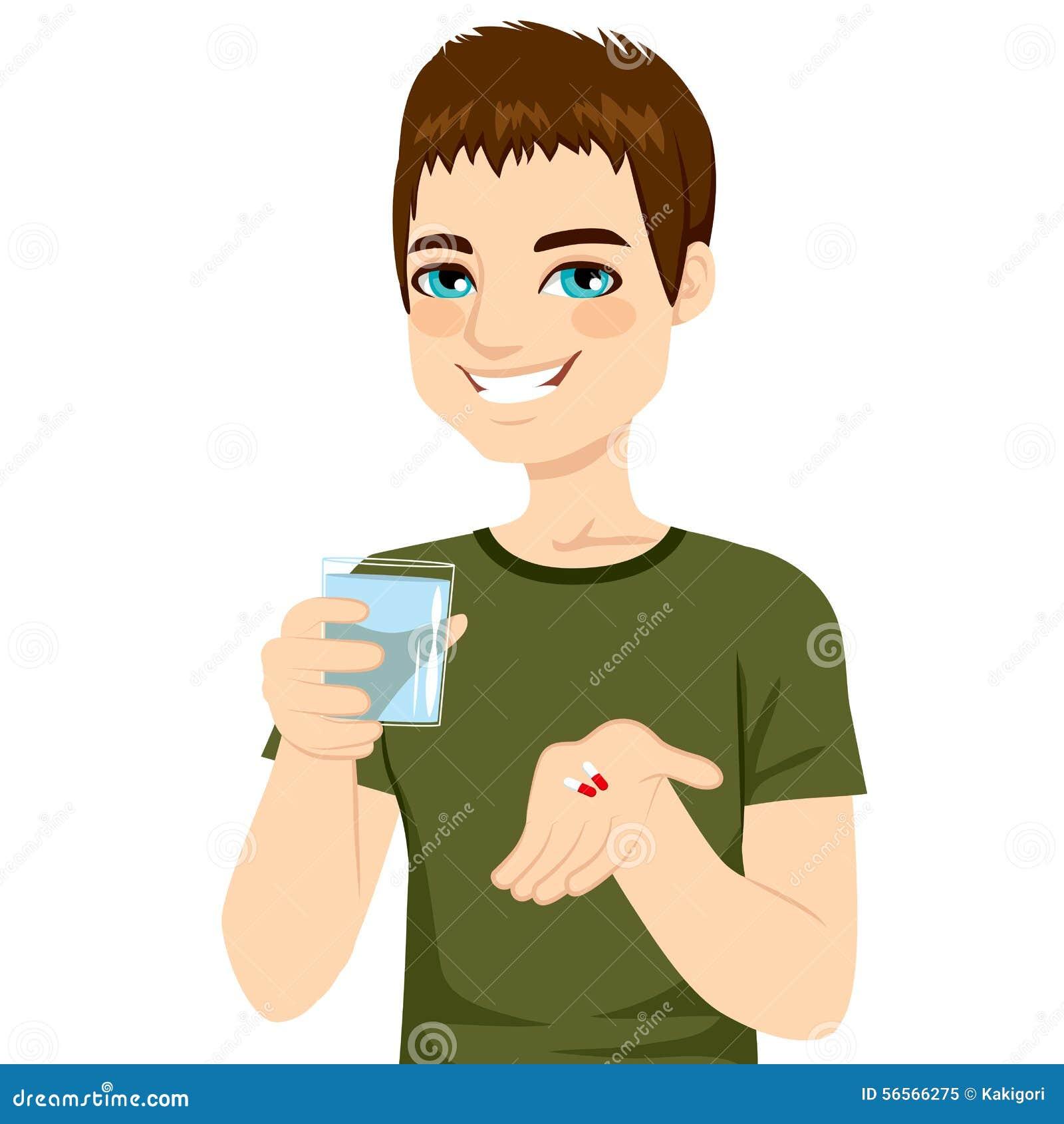 Download Άτομο που παίρνει τα χάπια διανυσματική απεικόνιση. εικονογραφία από βιταμίνες - 56566275