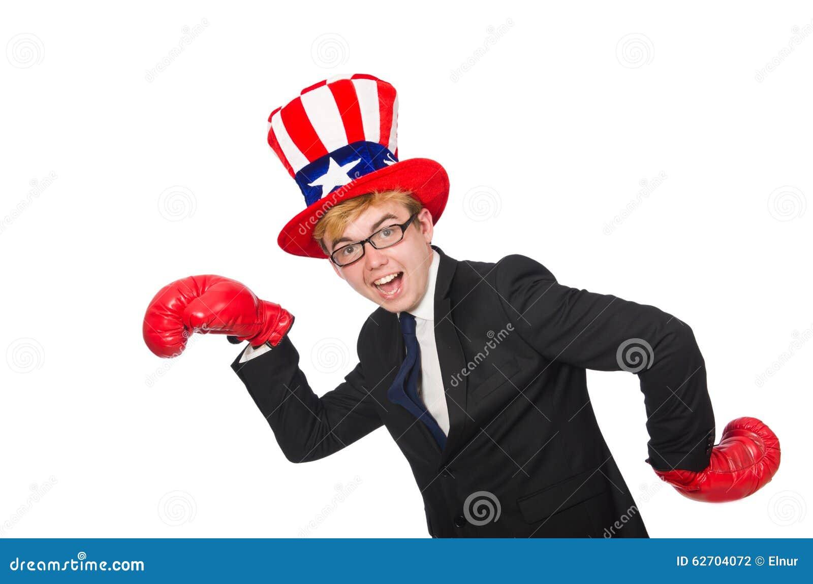Άτομο που φορά το καπέλο με τα αμερικανικά σύμβολα