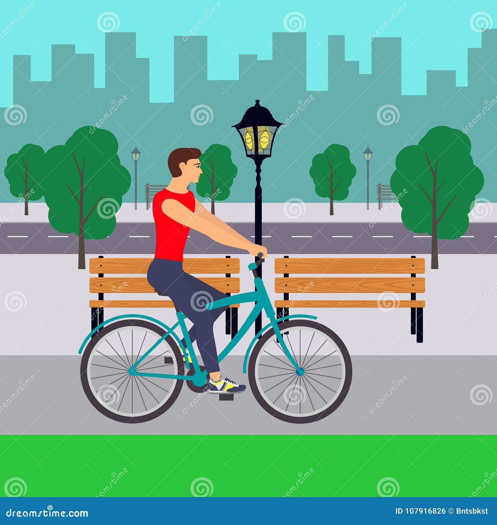 Άτομο στο ποδήλατο στην οδό πόλεων Ποδηλάτης στην πόλη Επίπεδη απεικόνιση
