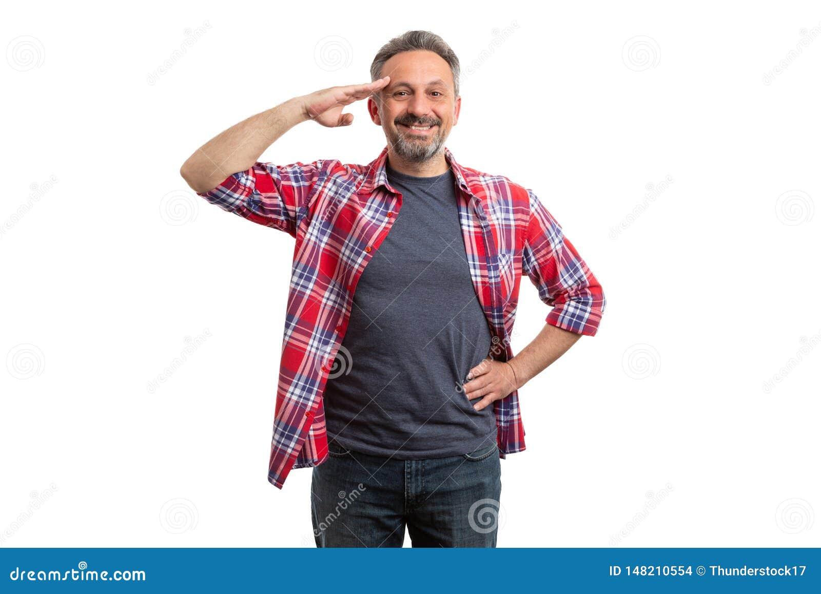 Άτομο σχετικά με το μέτωπο με το χέρι ως στρατιωτικό χαιρετισμό