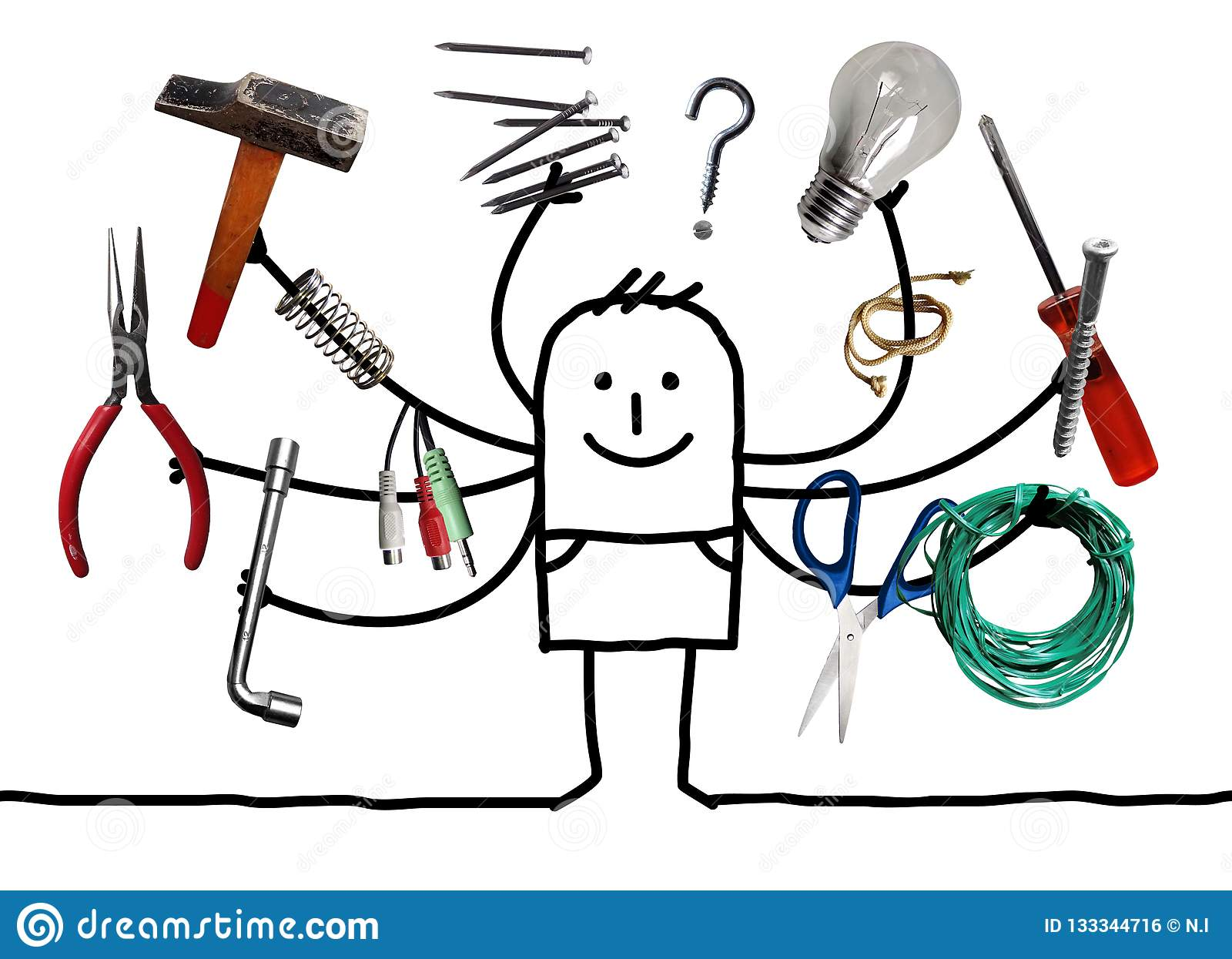 Άτομο Cartoo με τα πολυ εργαλεία στα χέρια