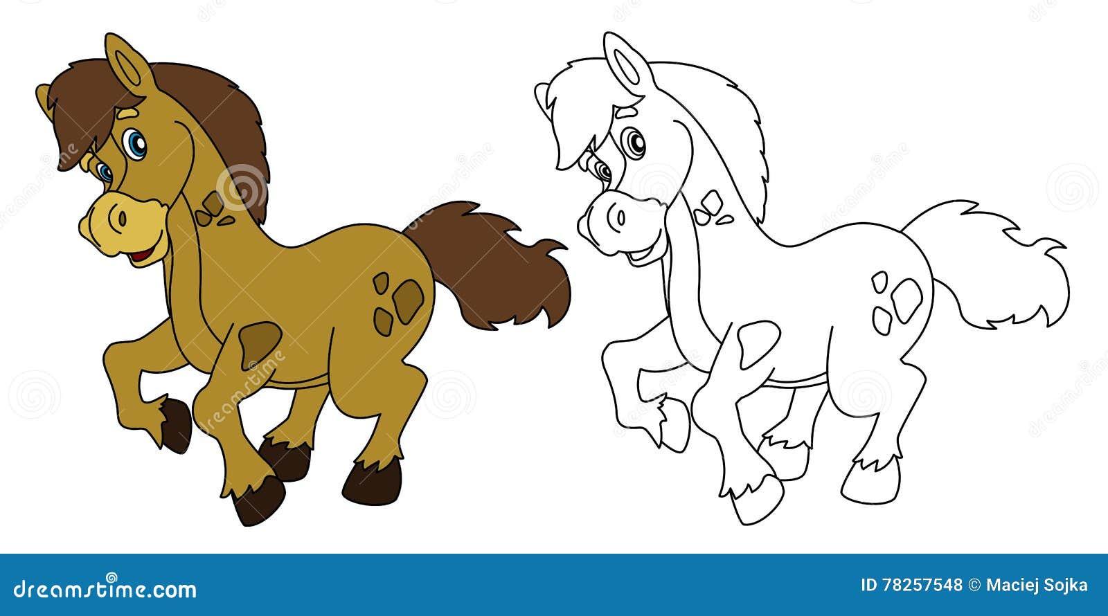 Άλογο κινούμενων σχεδίων - που απομονώνεται - με το χρωματισμό της σελίδας